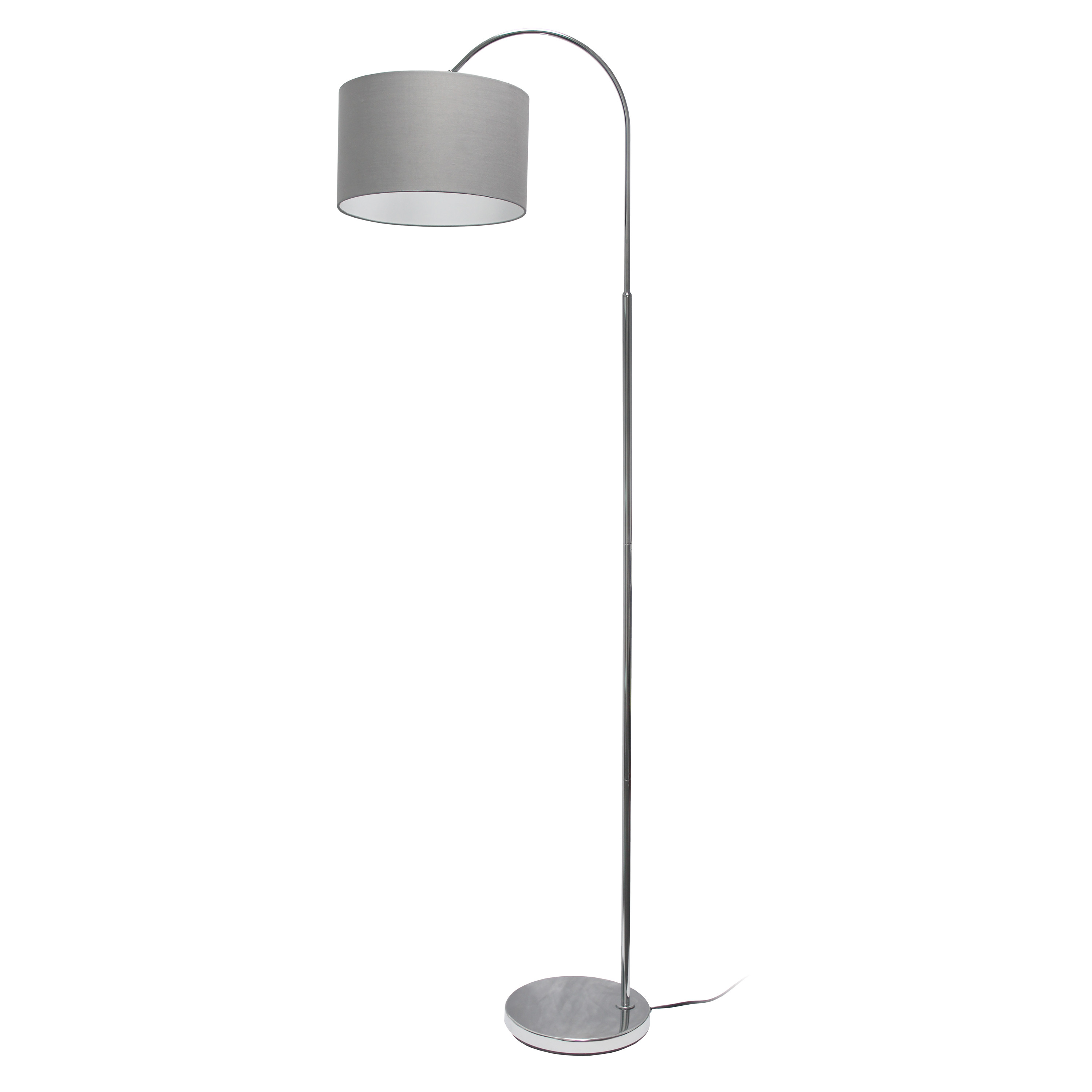 Simple Designs Arched Brushed Nickel Floor Lamp, Gray Shade