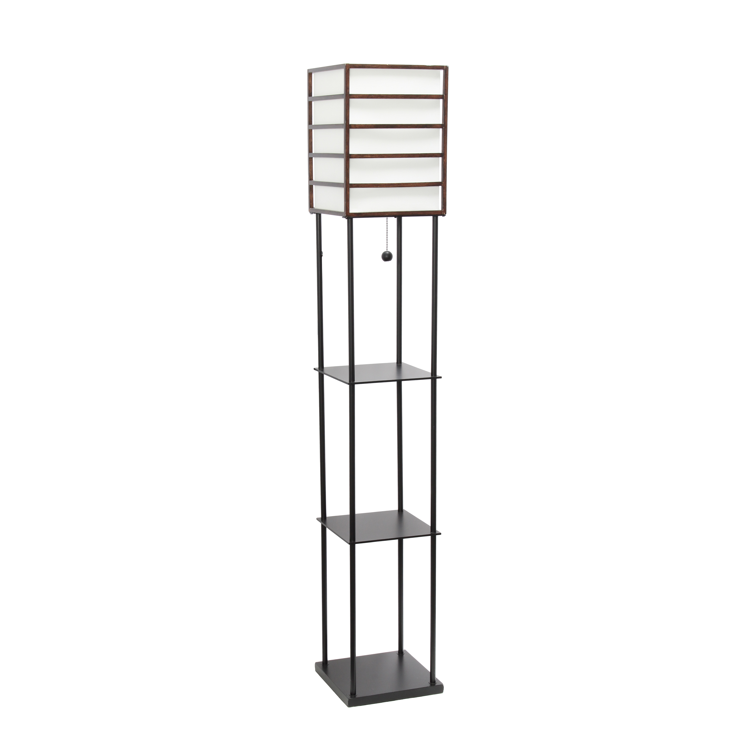 Lalia Home 1 Light Metal Etagere Floor Lamp with Storage Shelves and Linen Shade, Dark Wood