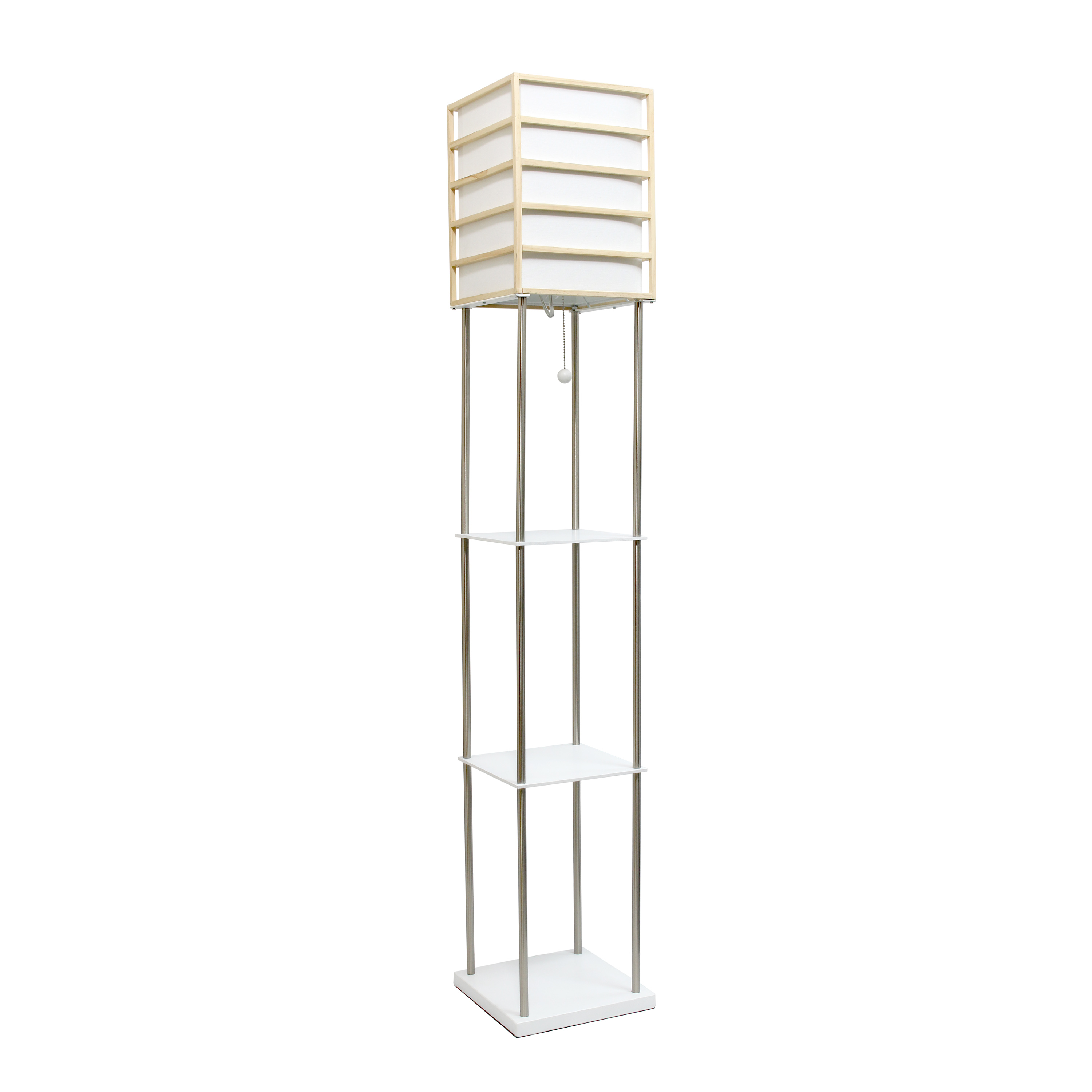 Lalia Home 1 Light Metal Etagere Floor Lamp with Storage Shelves and Linen Shade, Light Wood