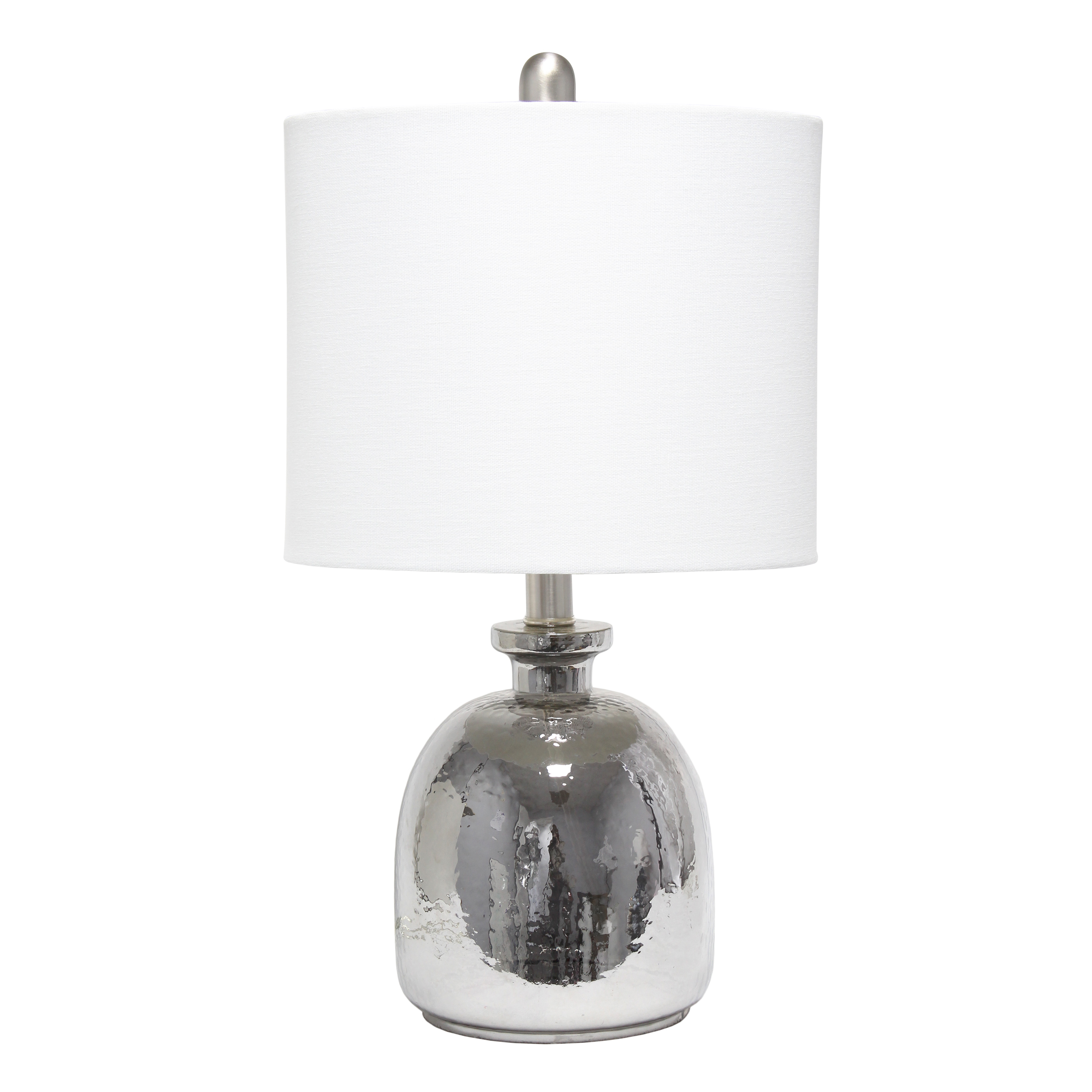 Lalia Home Metallic Gray Hammered Glass Jar Table Lamp with White Linen Shade