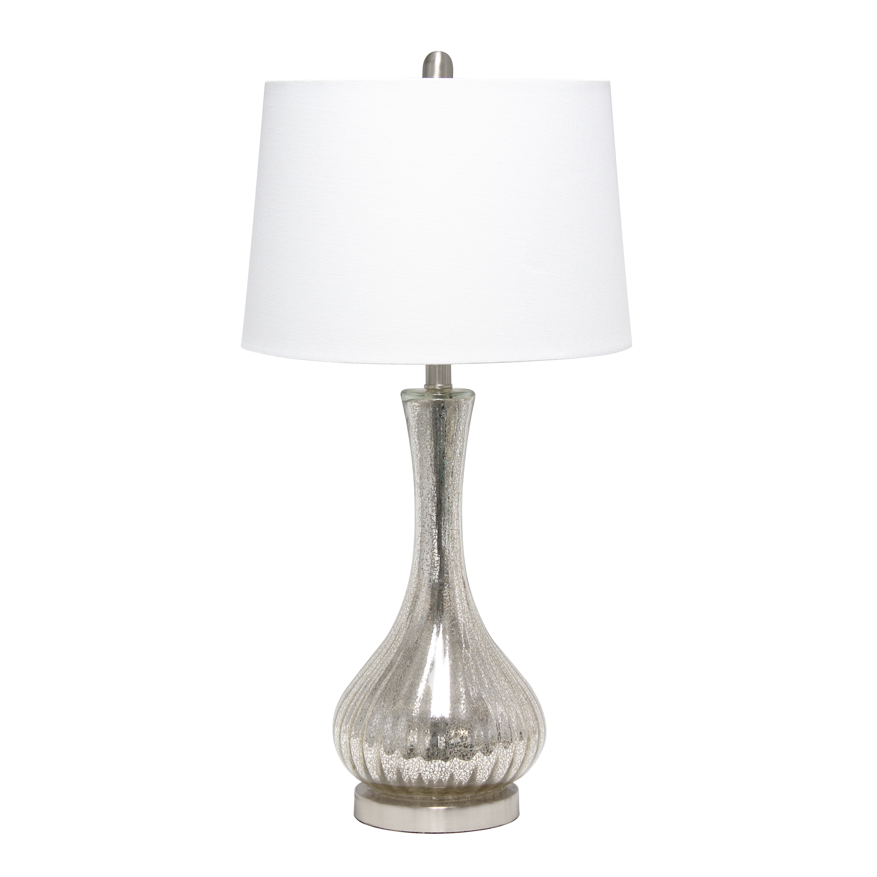 Lalia Home Speckled Mercury Tear Drop Table Lamp with White Fabric Shade