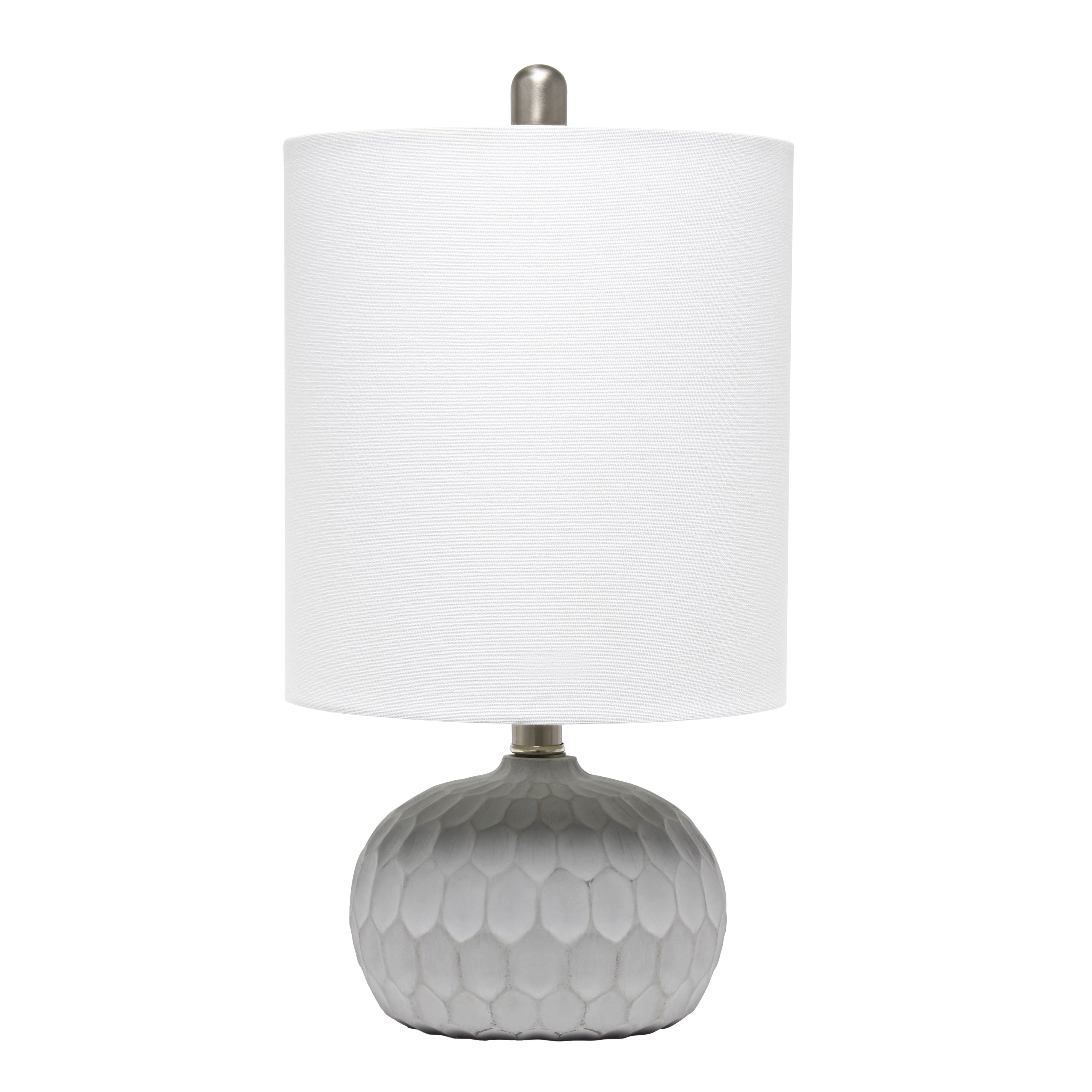 Lalia Home Concrete Thumbprint Table Lamp with White Fabric Shade