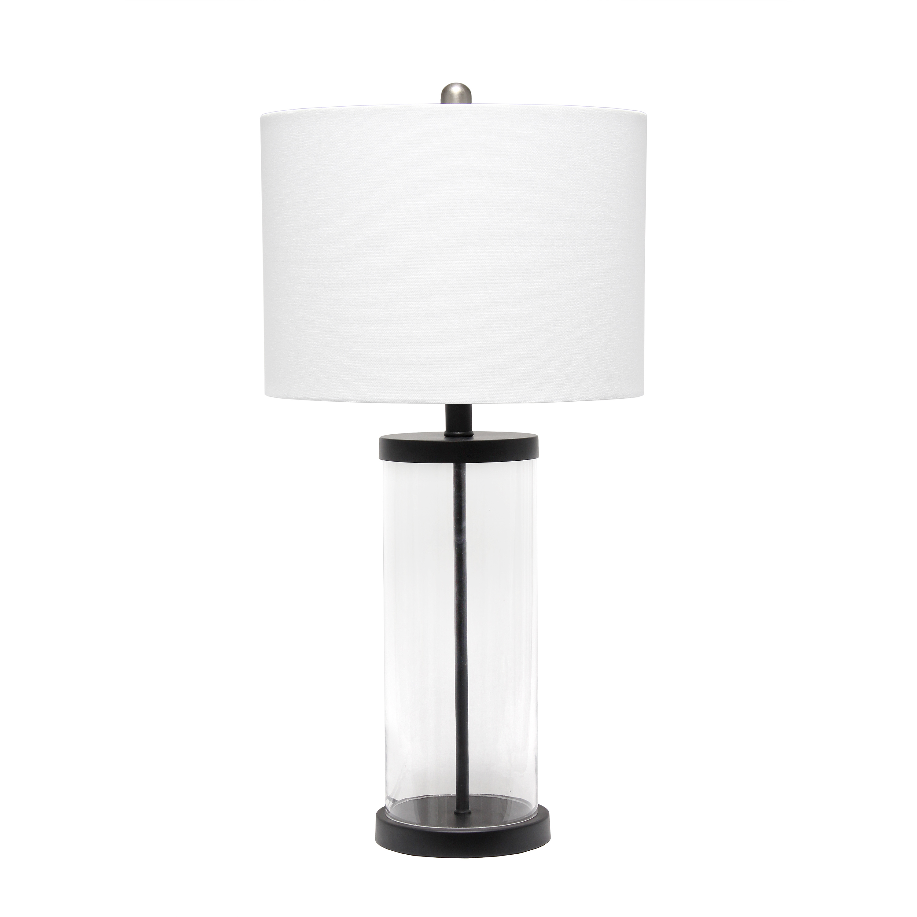 Lalia Home Entrapped Glass Table Lamp with White Fabric Shade
