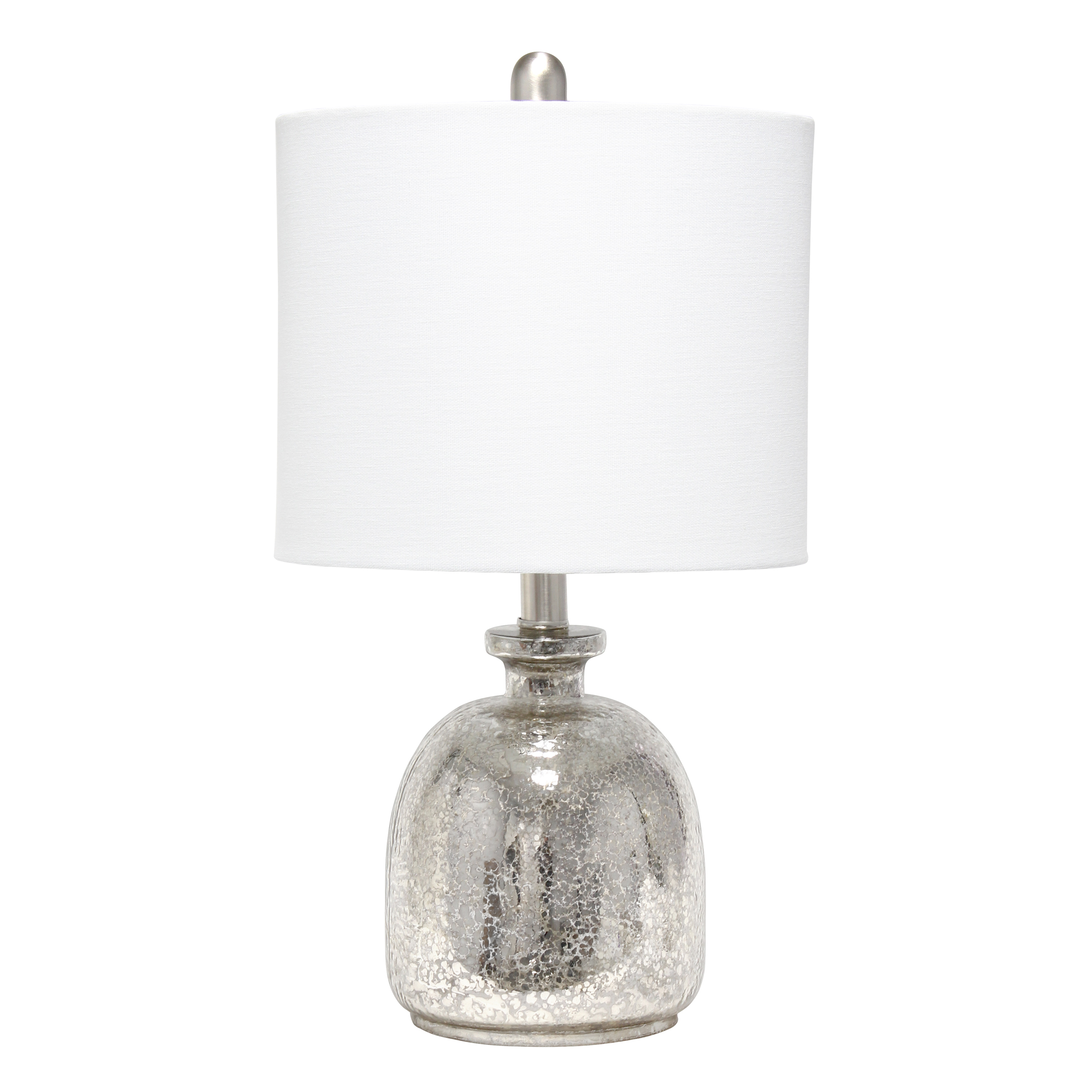 Lalia Home Mercury Hammered Glass Jar Table Lamp with White Linen Shade
