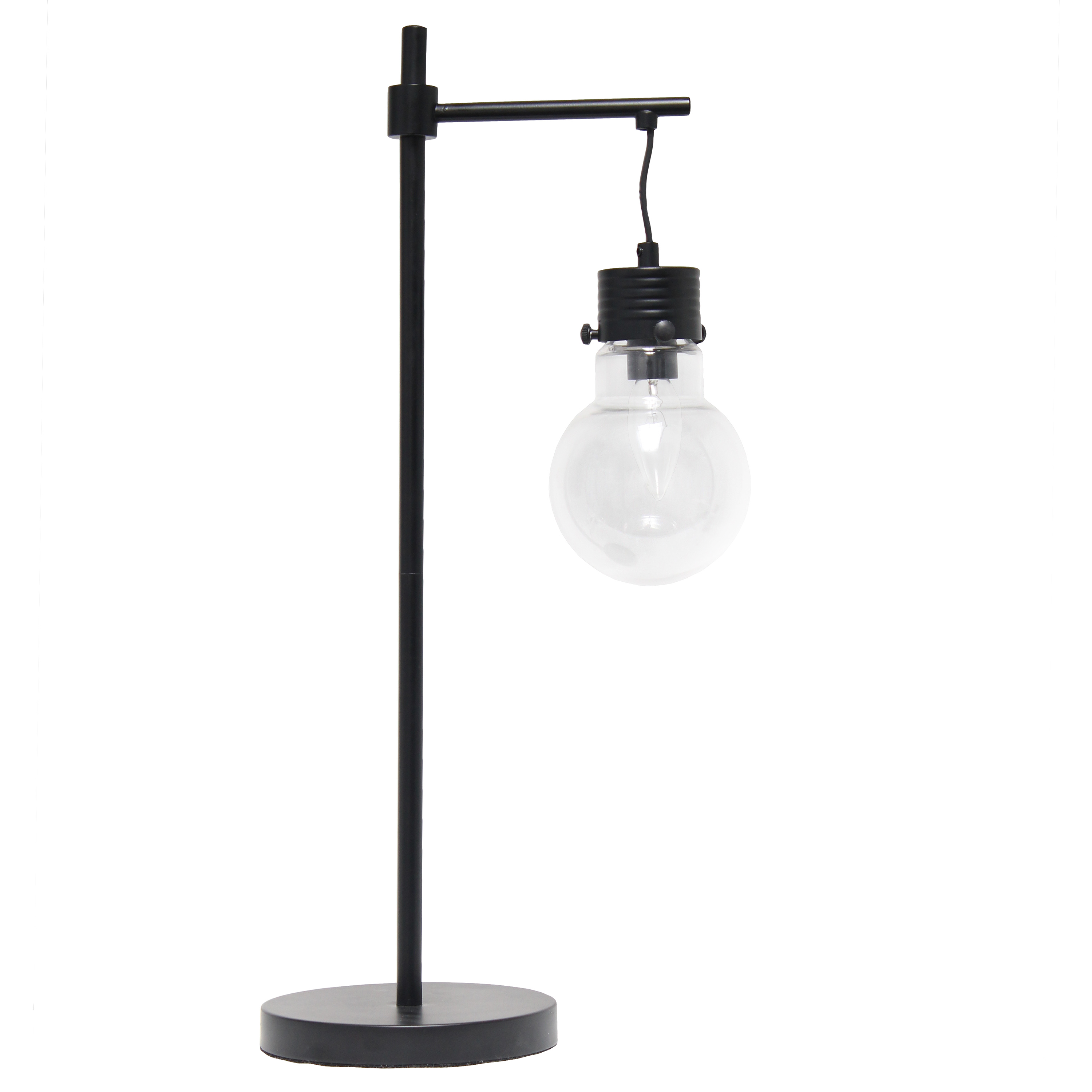 Lalia Home Black Matte 1 Light Beacon Table  Lamp with Clear Glass Shade
