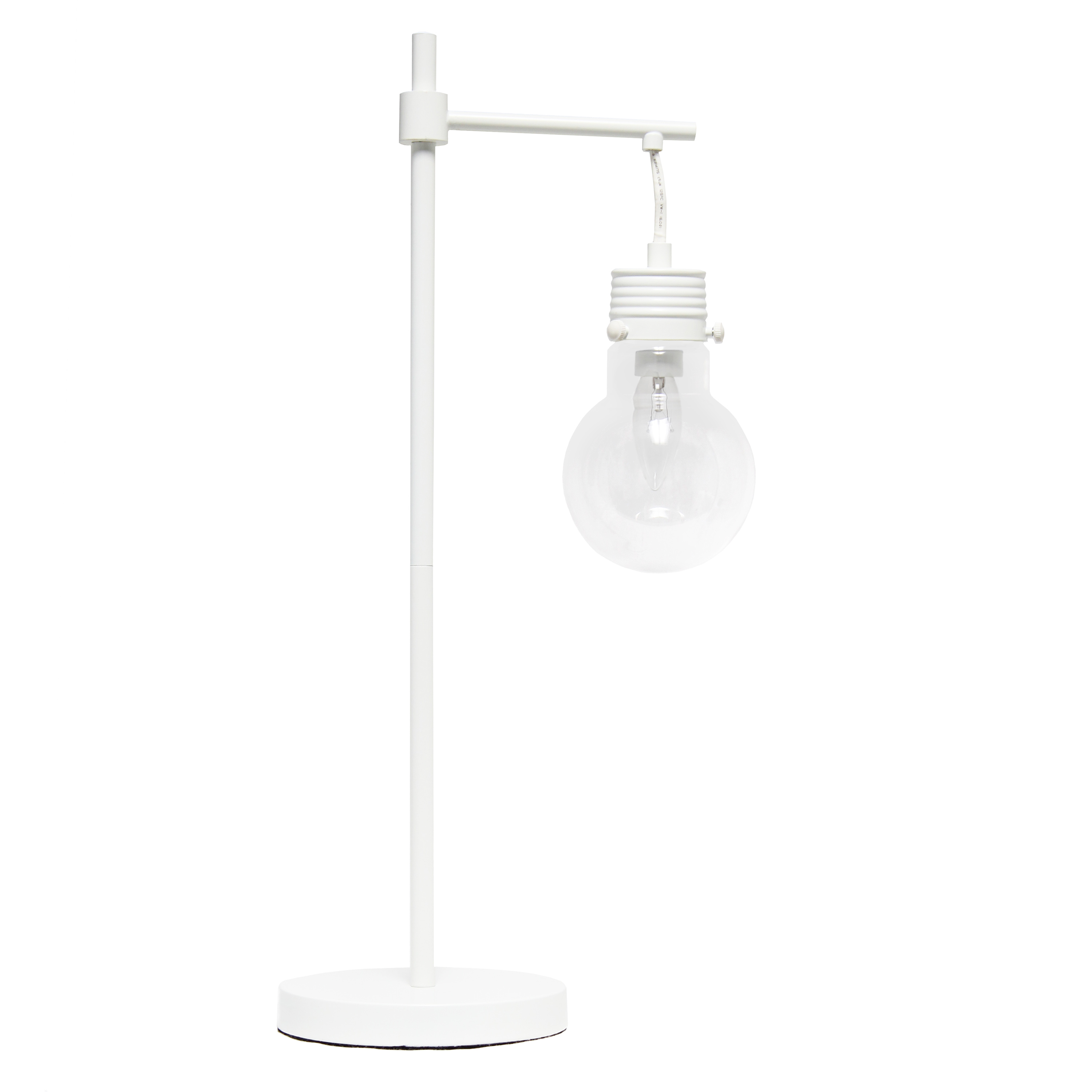 Lalia Home White Matte 1 Light Beacon Table  Lamp with Clear Glass Shade