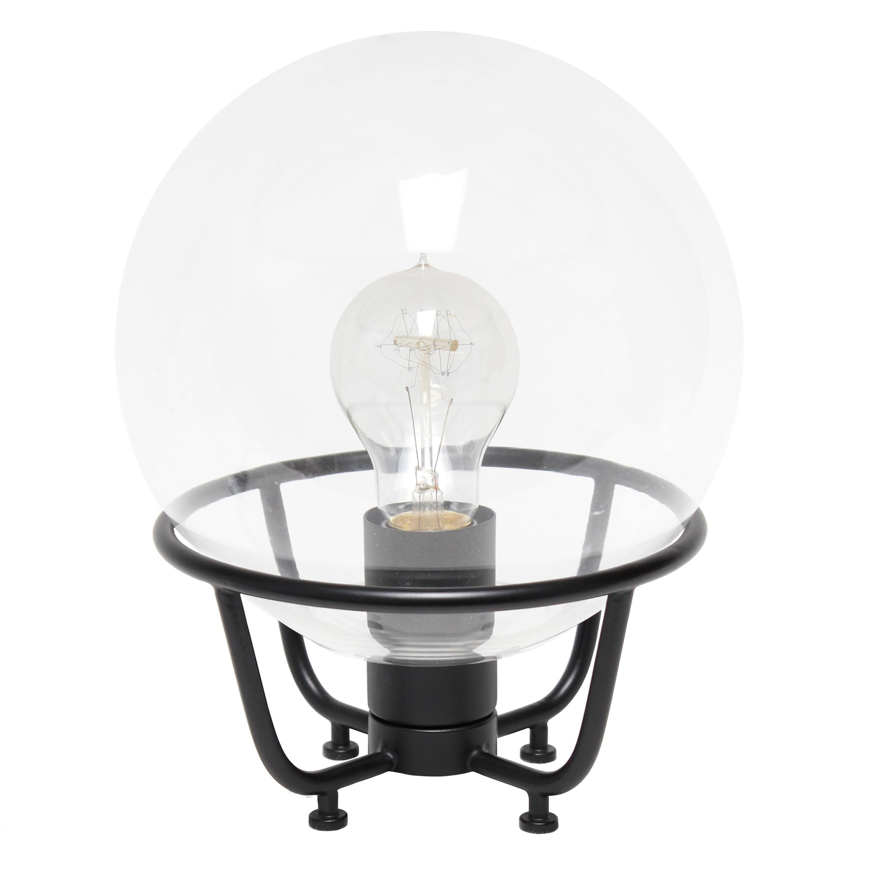 Lalia Home Old World Globe Glass Table Lamp, Black