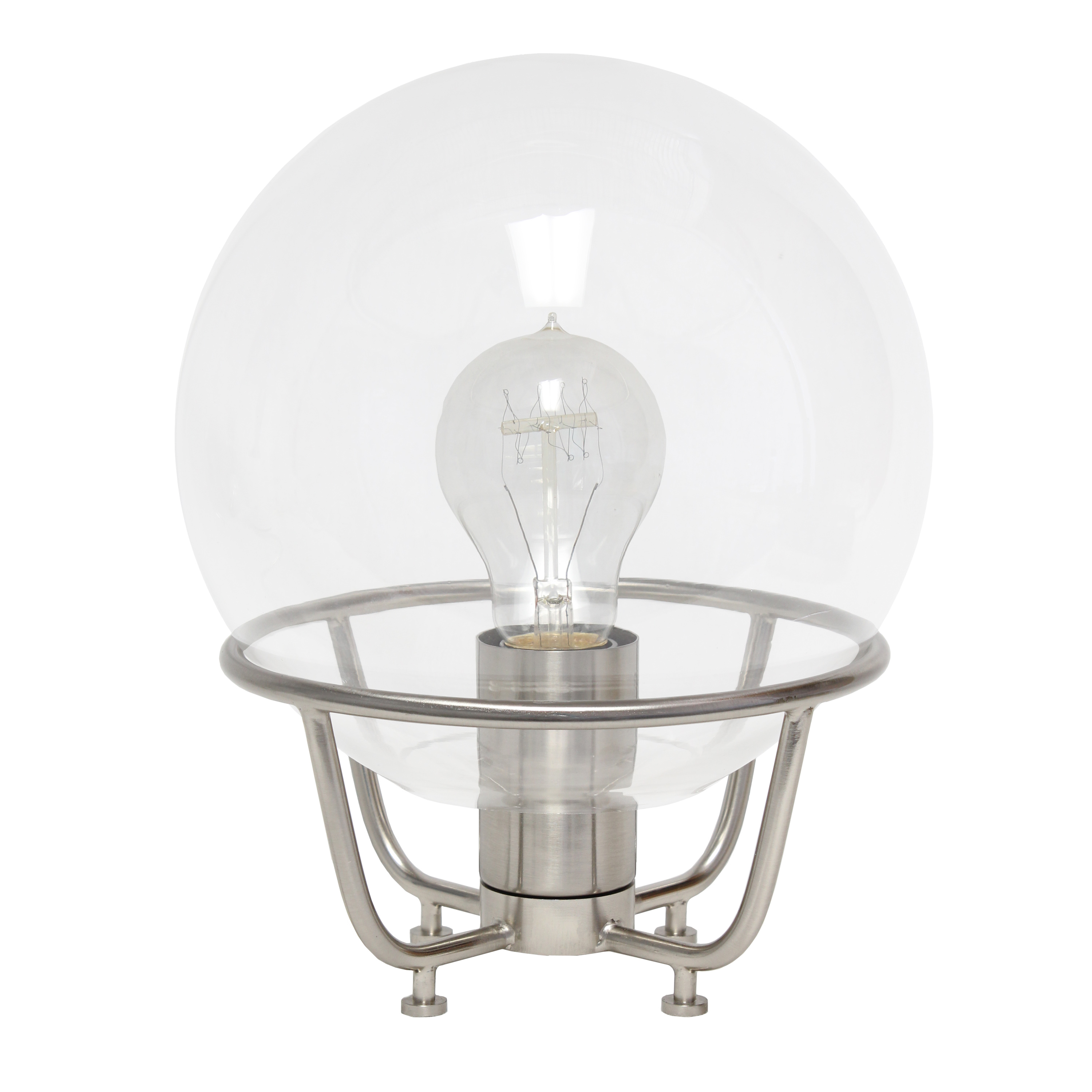 Lalia Home Old World Globe Glass Table Lamp, Brushed Nickel