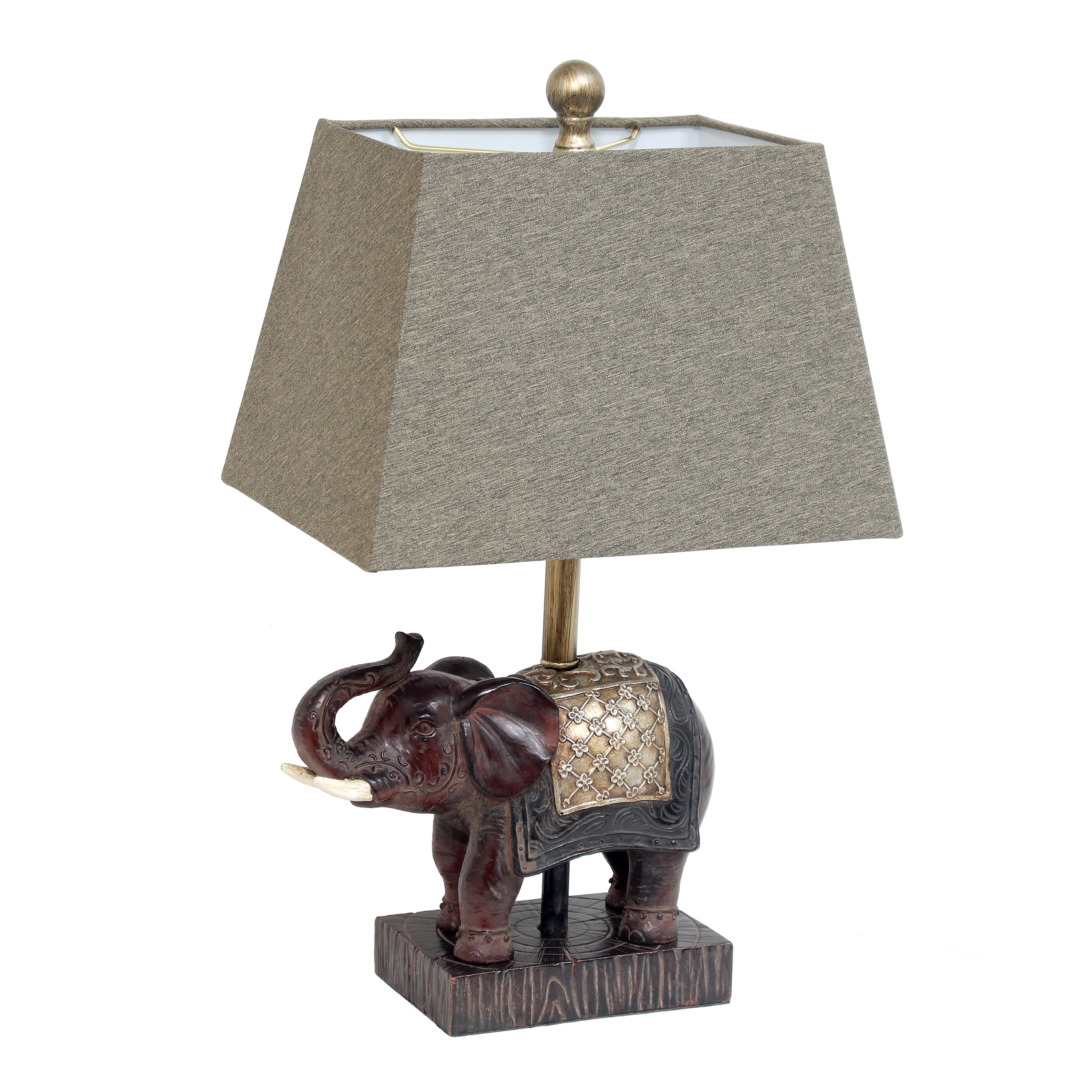 Lalia Home Elephant Table Lamp with Fabric Shade