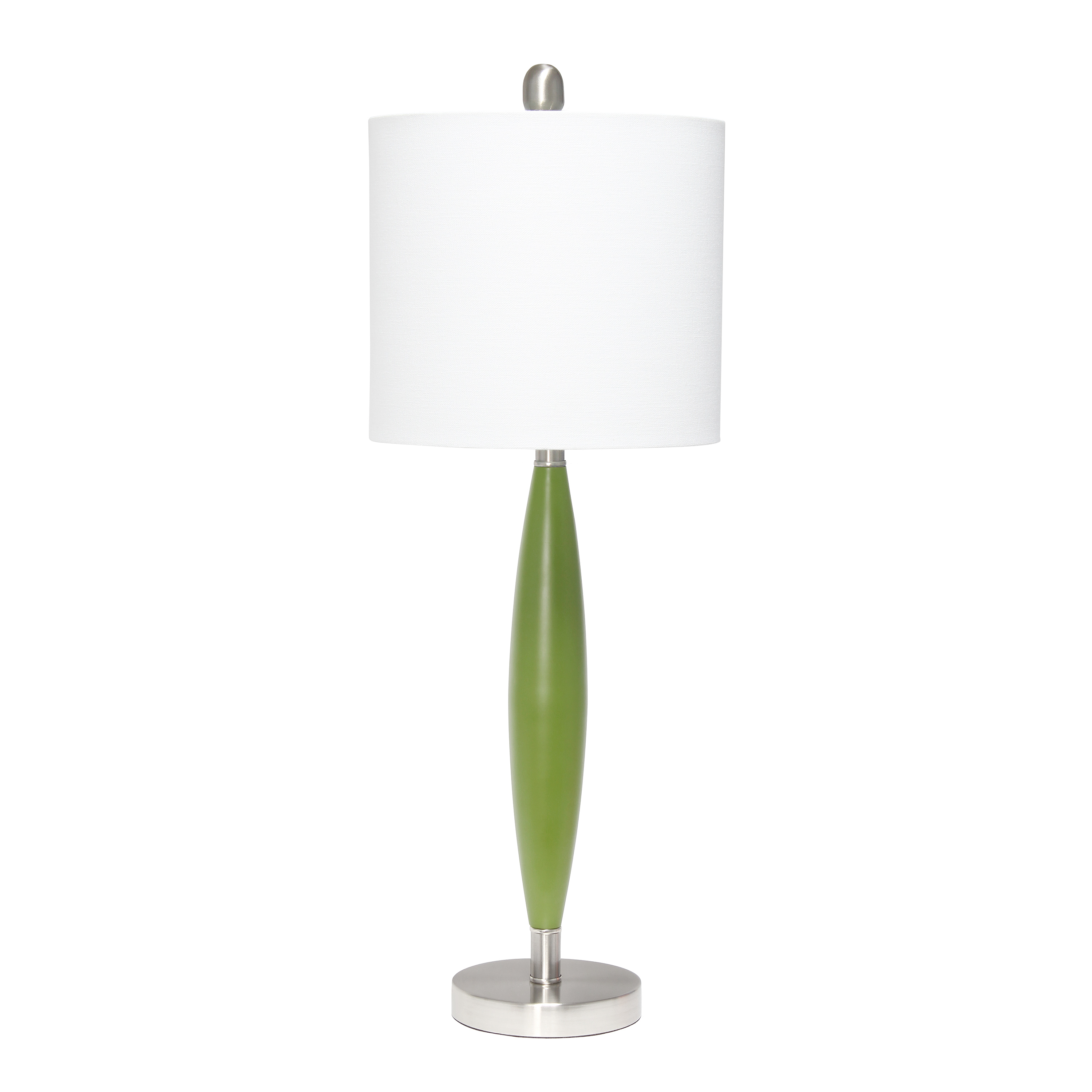 Lalia Home Stylus Table Lamp with White Fabric Shade, Green