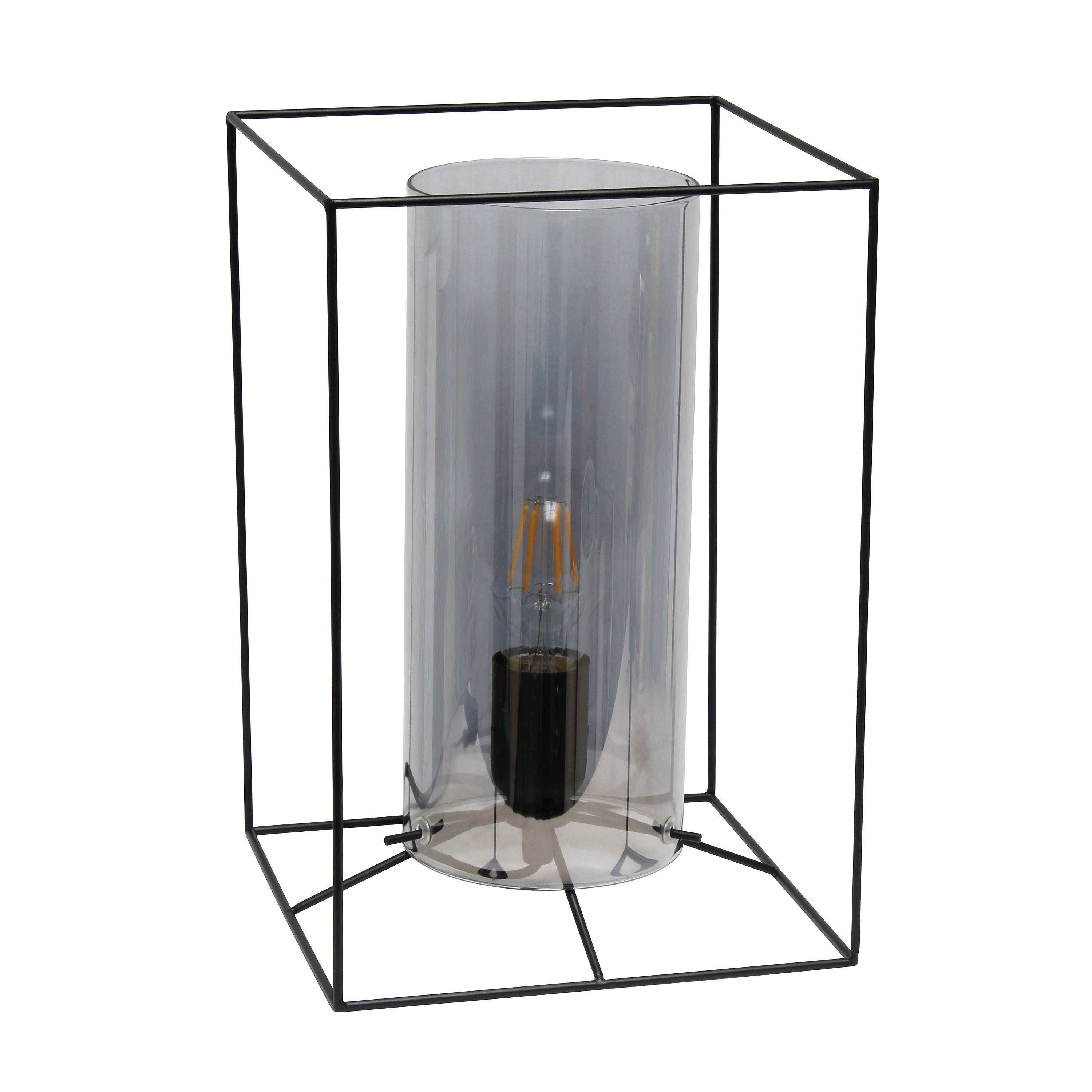 Lalia Home Black Framed Table Lamp with Smoked Cylinder Glass Shade, Large