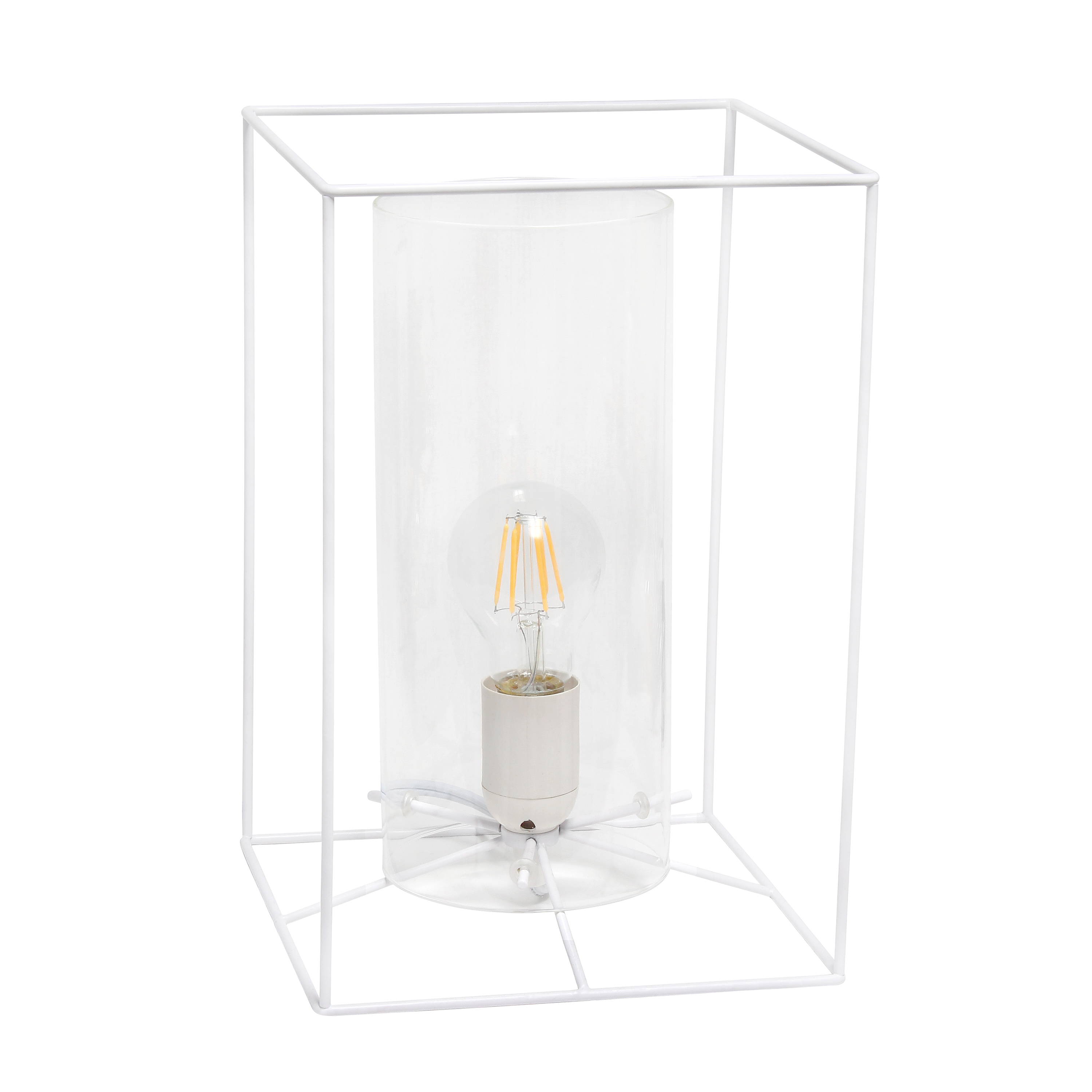Lalia Home White Framed Table Lamp with Clear Cylinder Glass Shade, Large