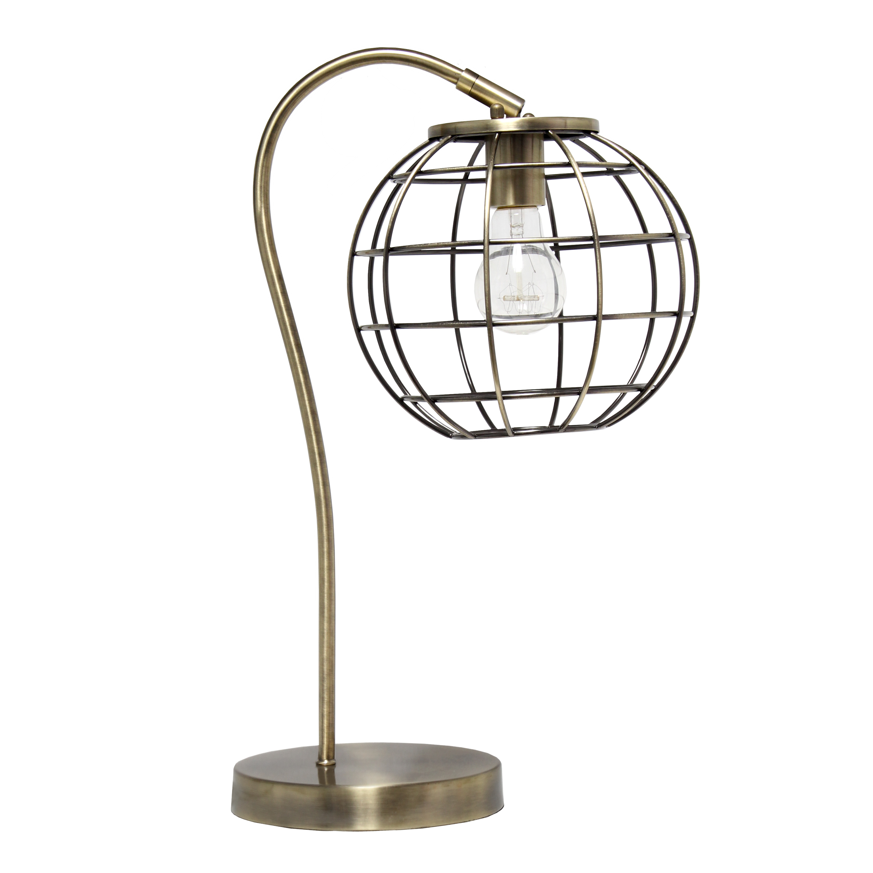 Lalia Home Arched Metal Cage Table Lamp, Antique Brass