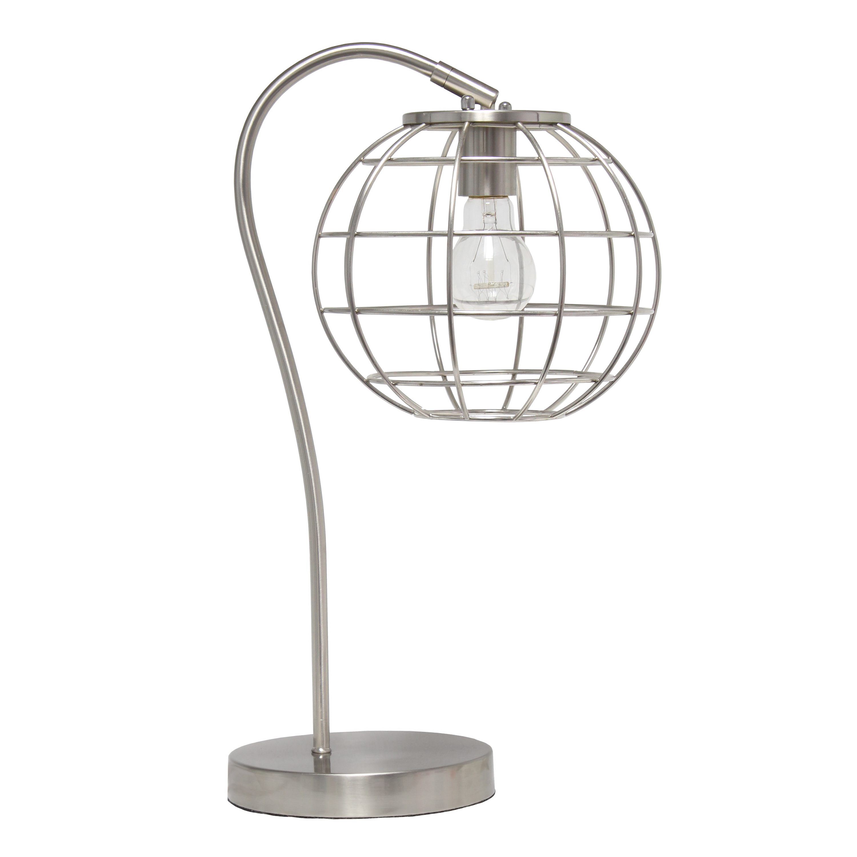 Lalia Home Arched Metal Cage Table Lamp, Brushed Nickel