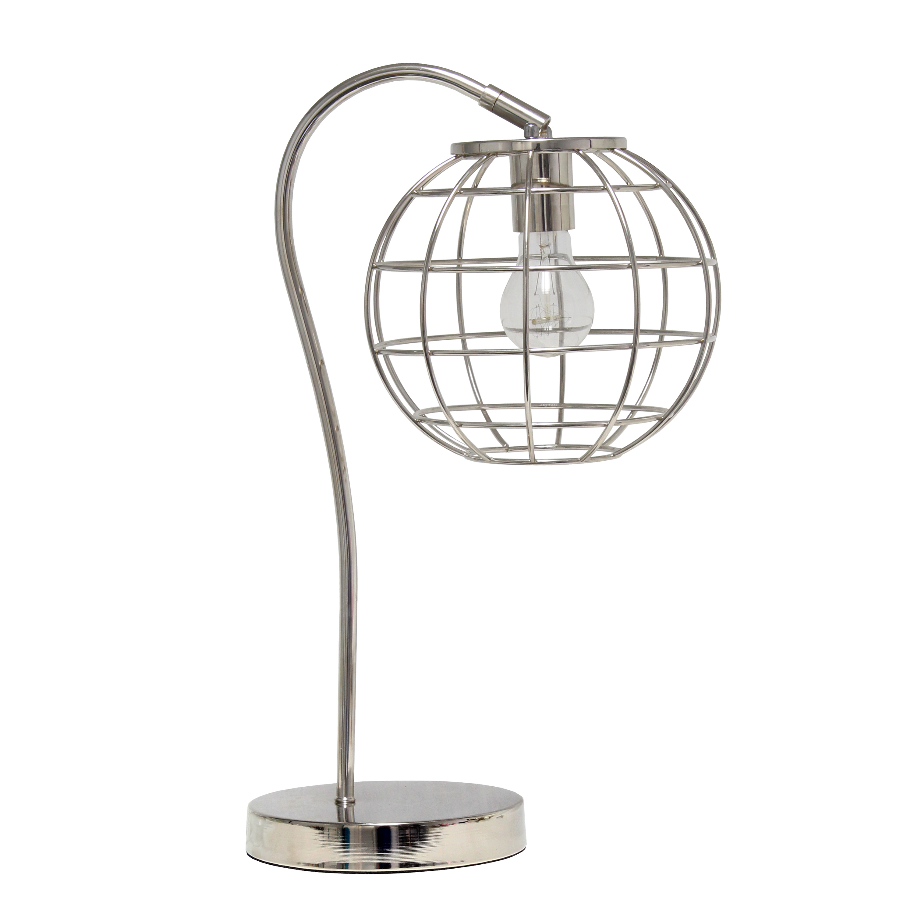 Lalia Home Arched Metal Cage Table Lamp, Chrome