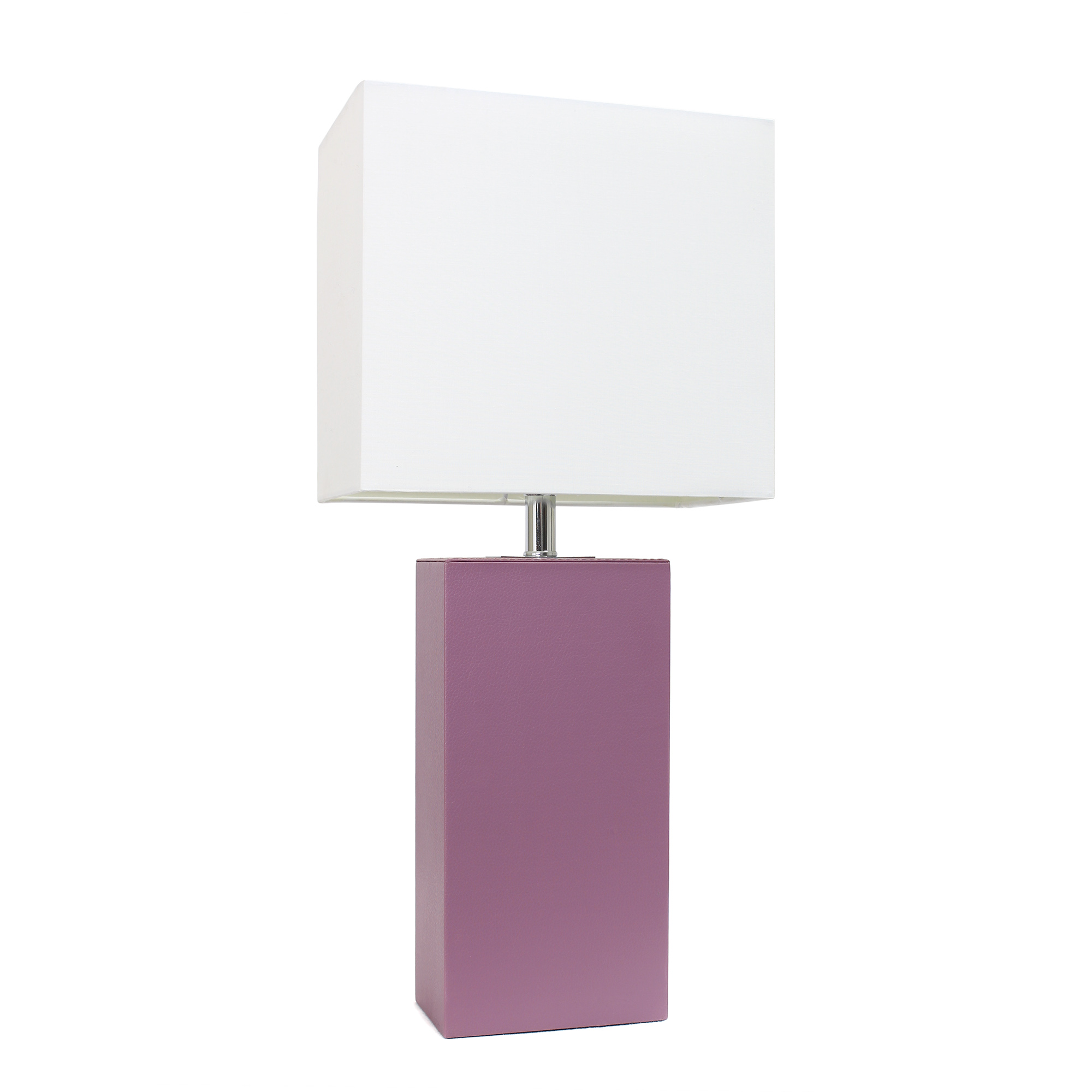 Elegant Designs Modern Leather Table Lamp with White Fabric Shade, Purple