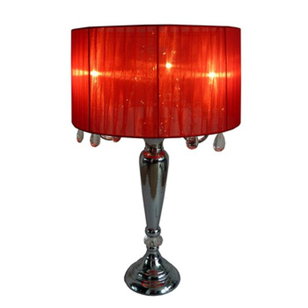 Elegant Designs Trendy Sheer Red Shade Table Lamp with Hanging Crystals