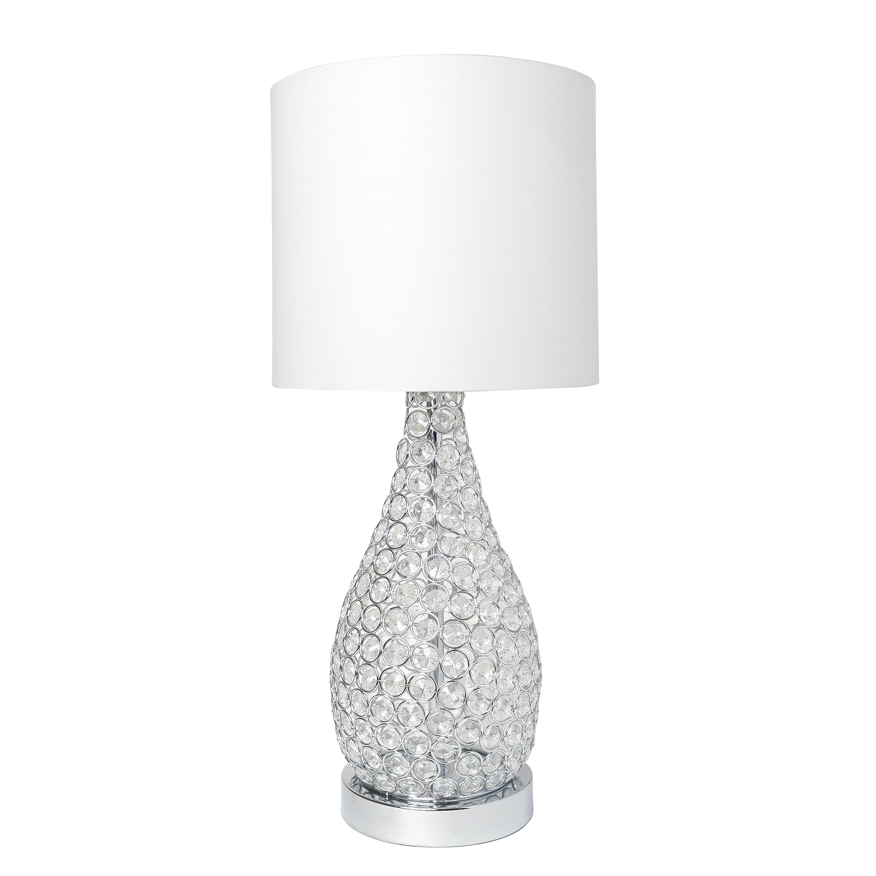 Elegant Designs Elipse Crystal Pinned Decorative Gourd Accent Table Lamp, Chrome