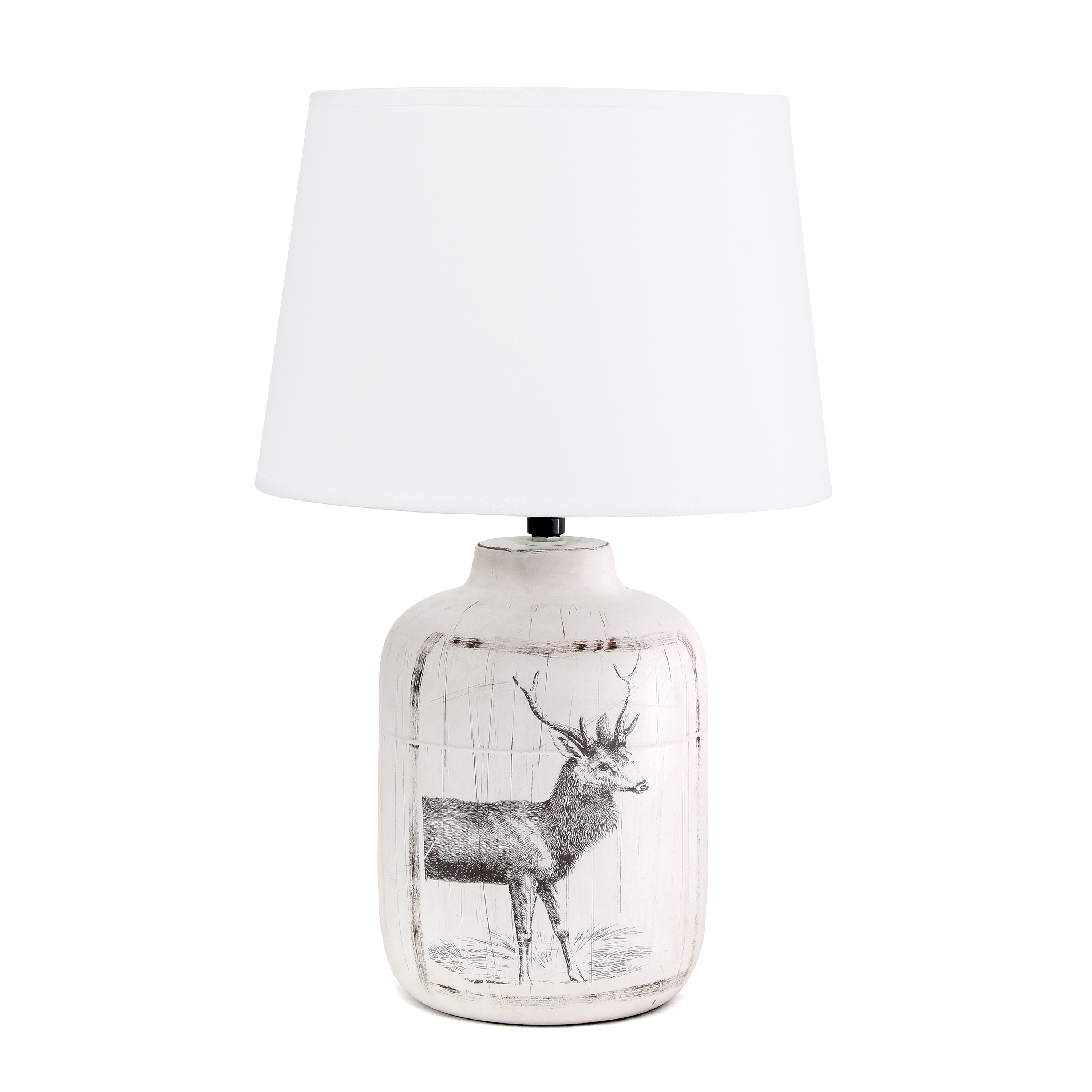 Simple Designs Rustic Deer Buck Nature Printed Ceramic Farmhouse Accent Table Lamp with Fabric Shade