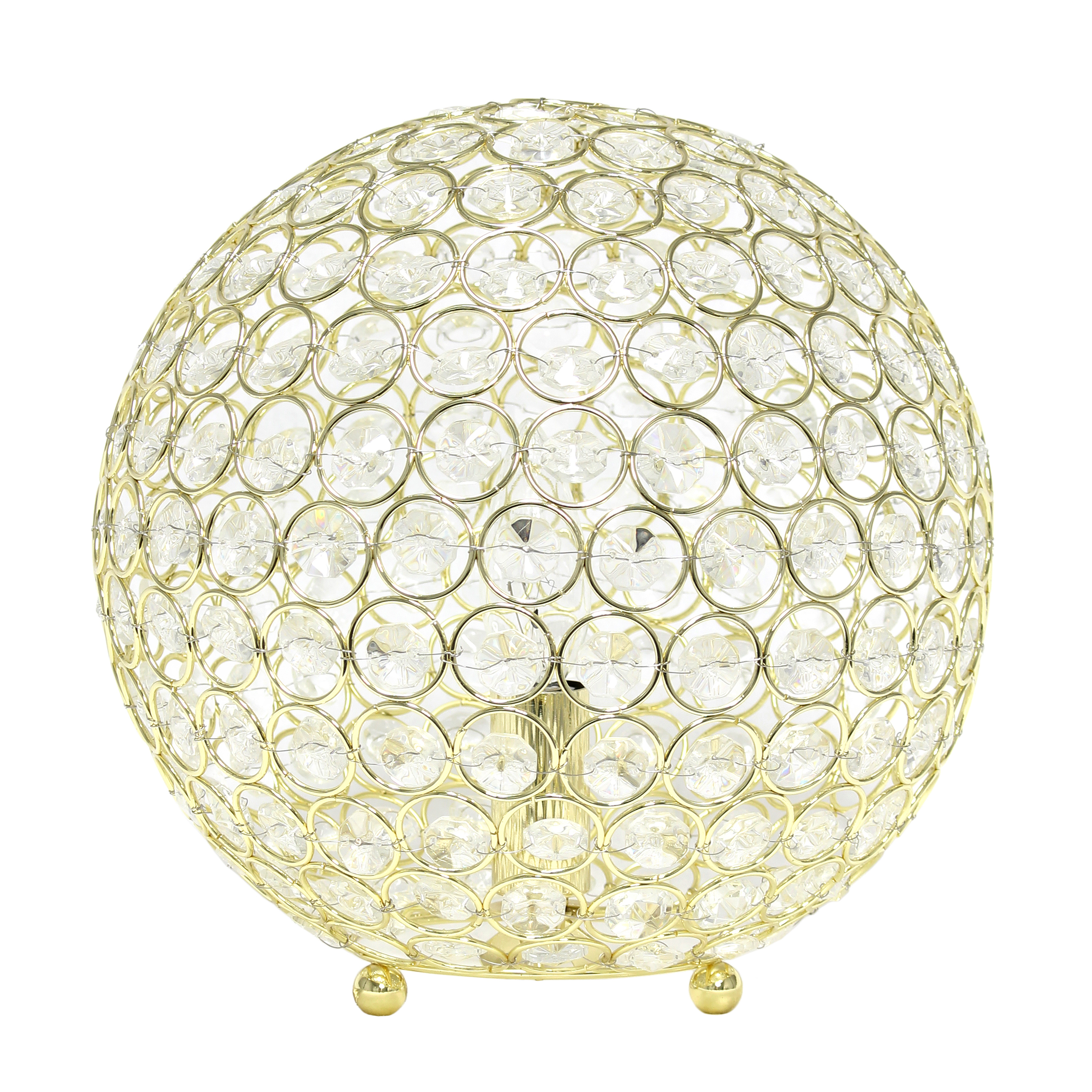 Elegant Designs Elipse 10 Inch Crystal Ball Sequin Table Lamp, Gold