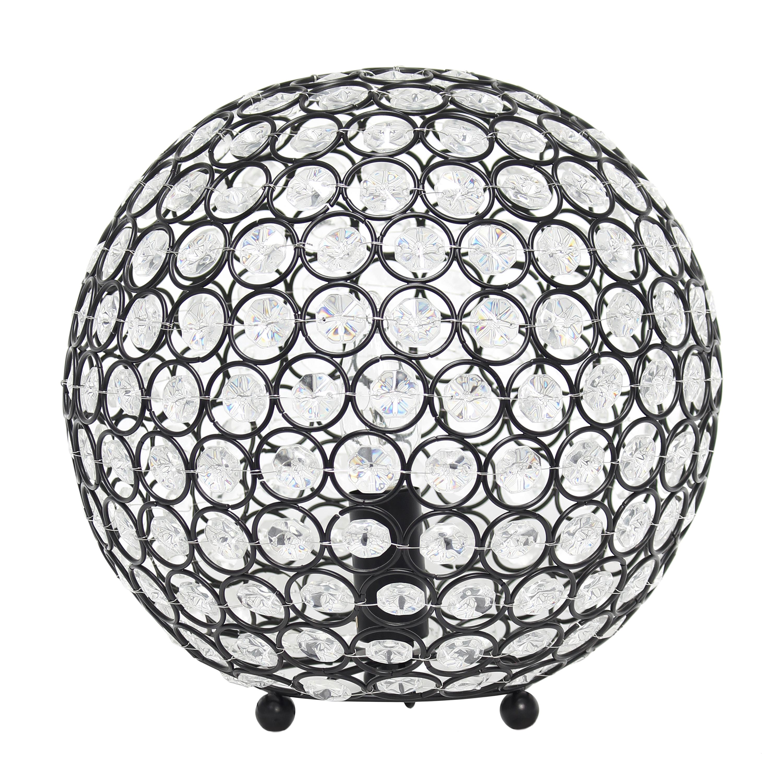 Elegant Designs Elipse 10 Inch Crystal Ball Sequin Table Lamp, Restoration Bronze