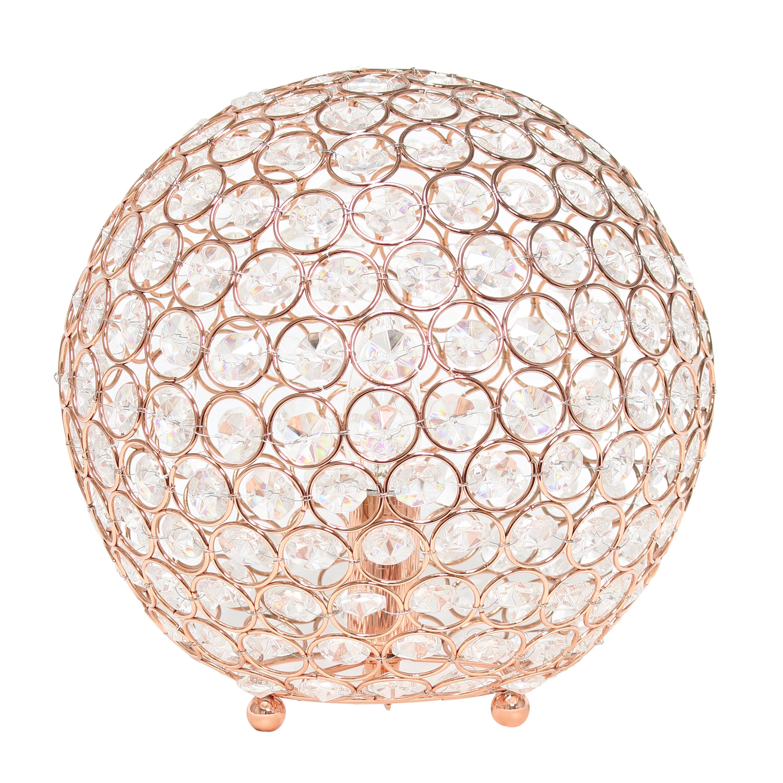 Elegant Designs Elipse 10 Inch Crystal Ball Sequin Table Lamp, Rose Gold