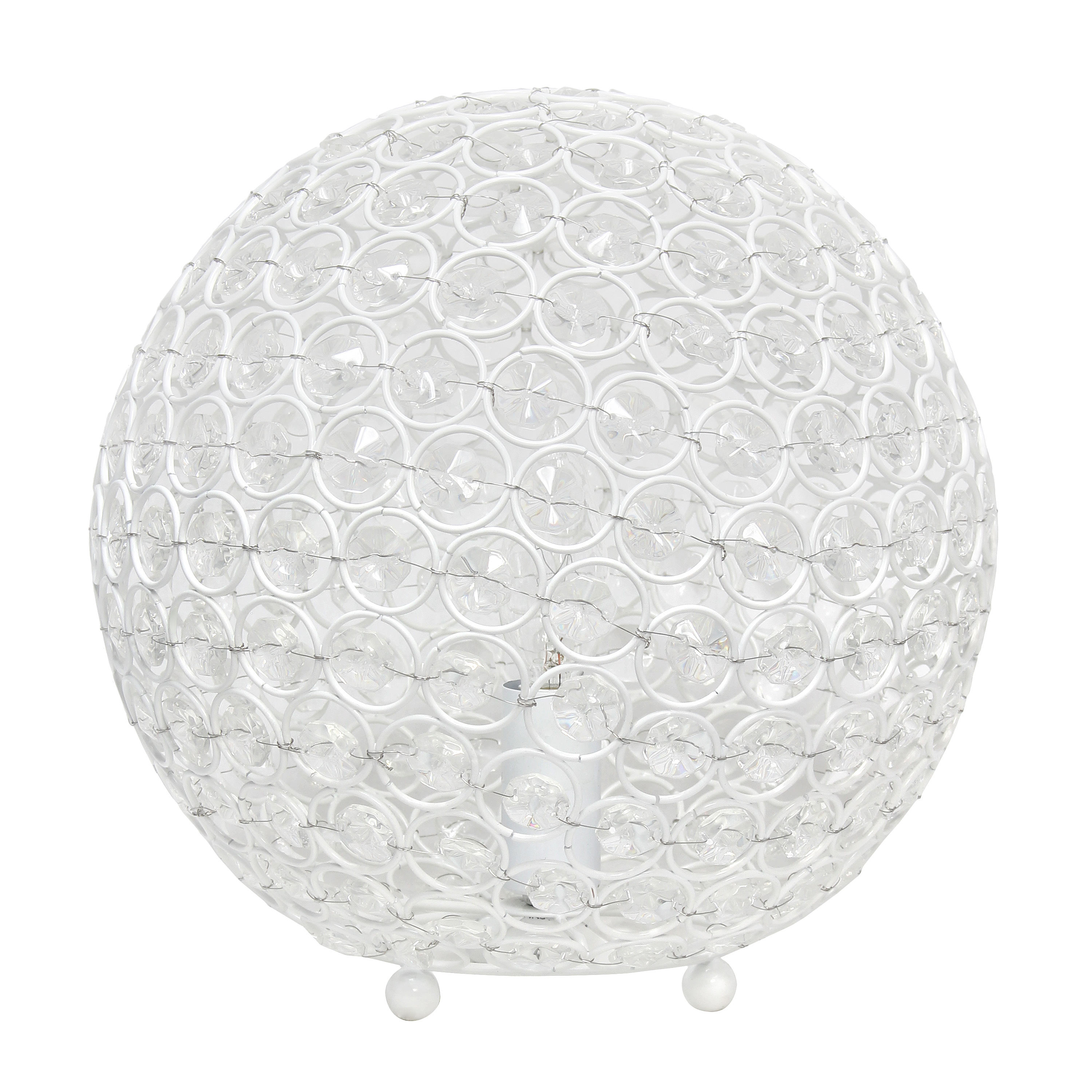Elegant Designs Elipse 10 Inch Crystal Ball Sequin Table Lamp, White