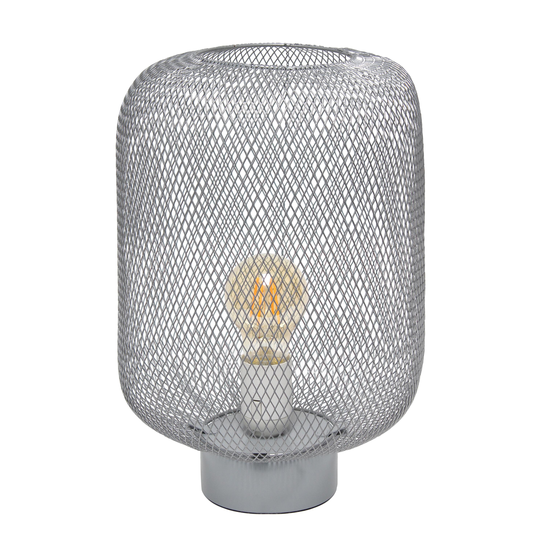 Simple Designs White Metal Mesh Industrial Table Lamp