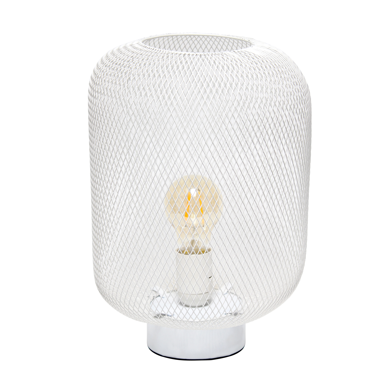 Simple Designs Gray Metal Mesh Industrial Table Lamp