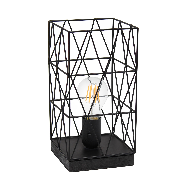 Simple Designs Black Geometric Square Metal Table Lamp