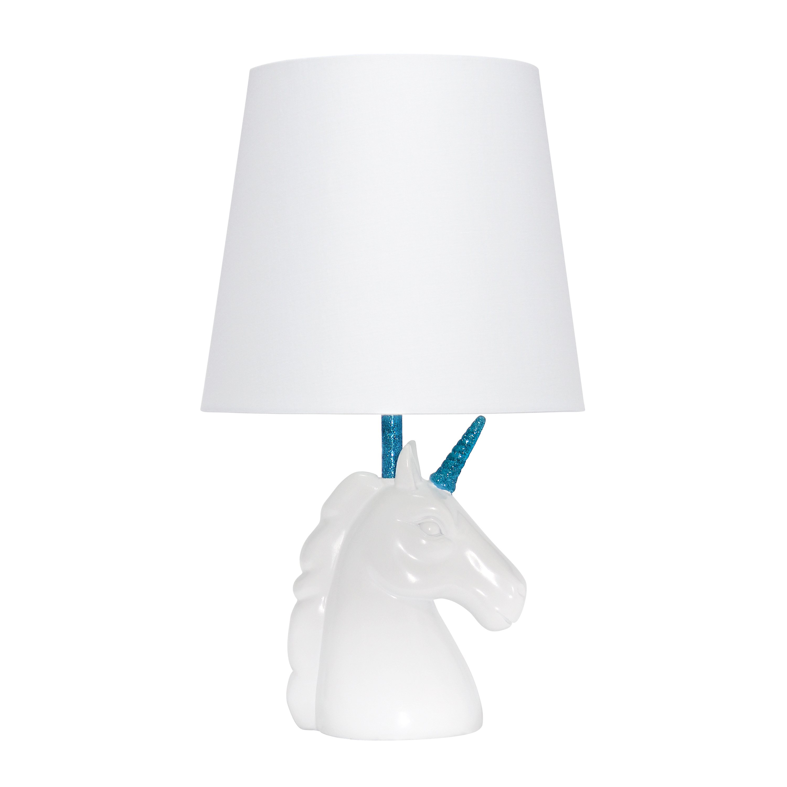 Simple Designs Sparkling Blue and White Unicorn Table Lamp