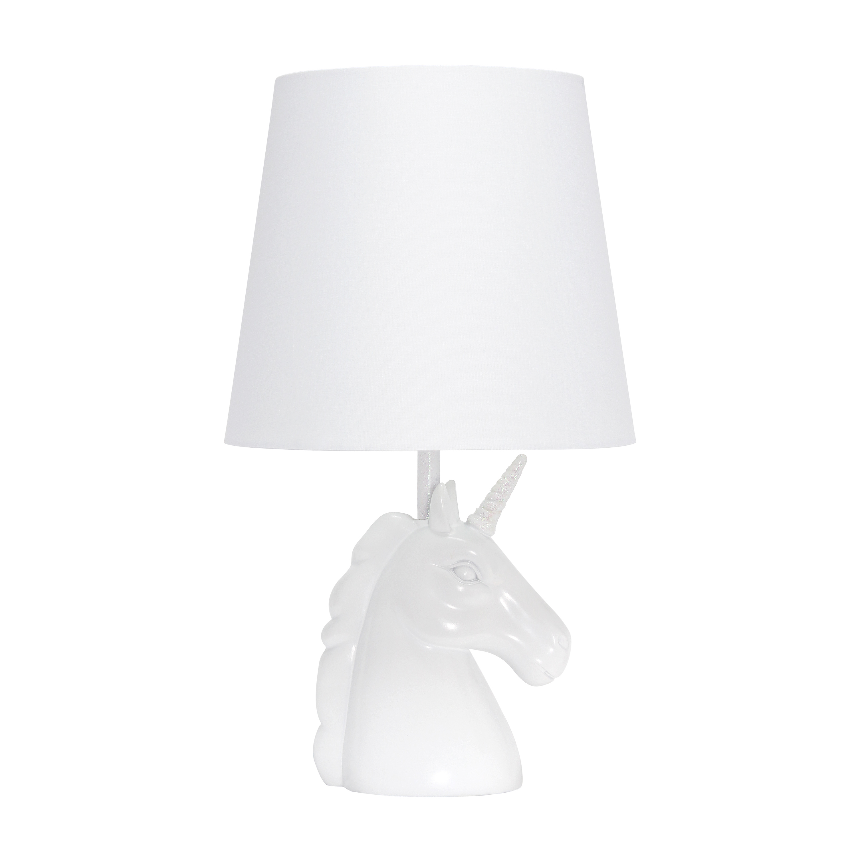 Simple Designs Sparkling Iridescent and White Unicorn Table Lamp