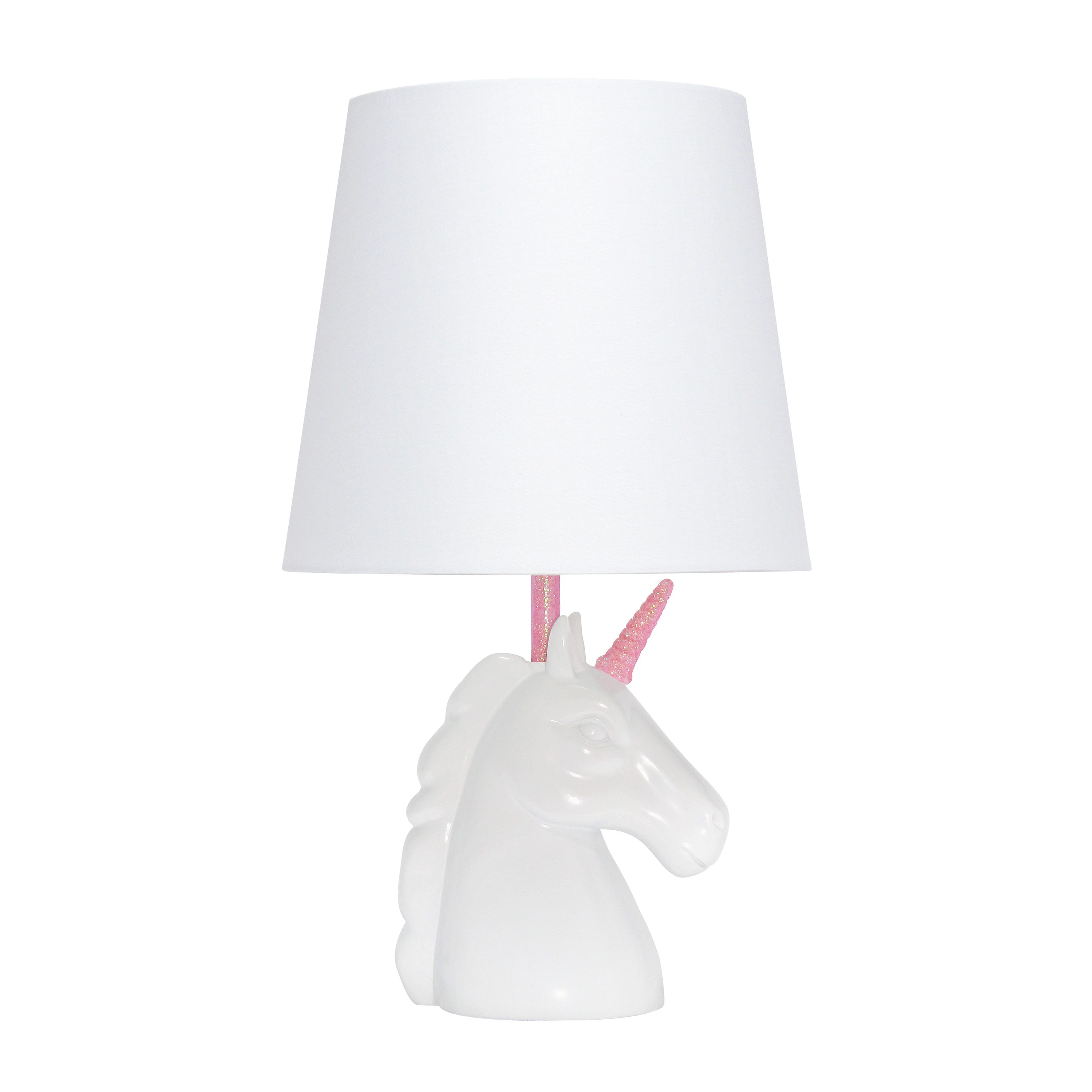 Simple Designs Sparkling Pink and White Unicorn Table Lamp