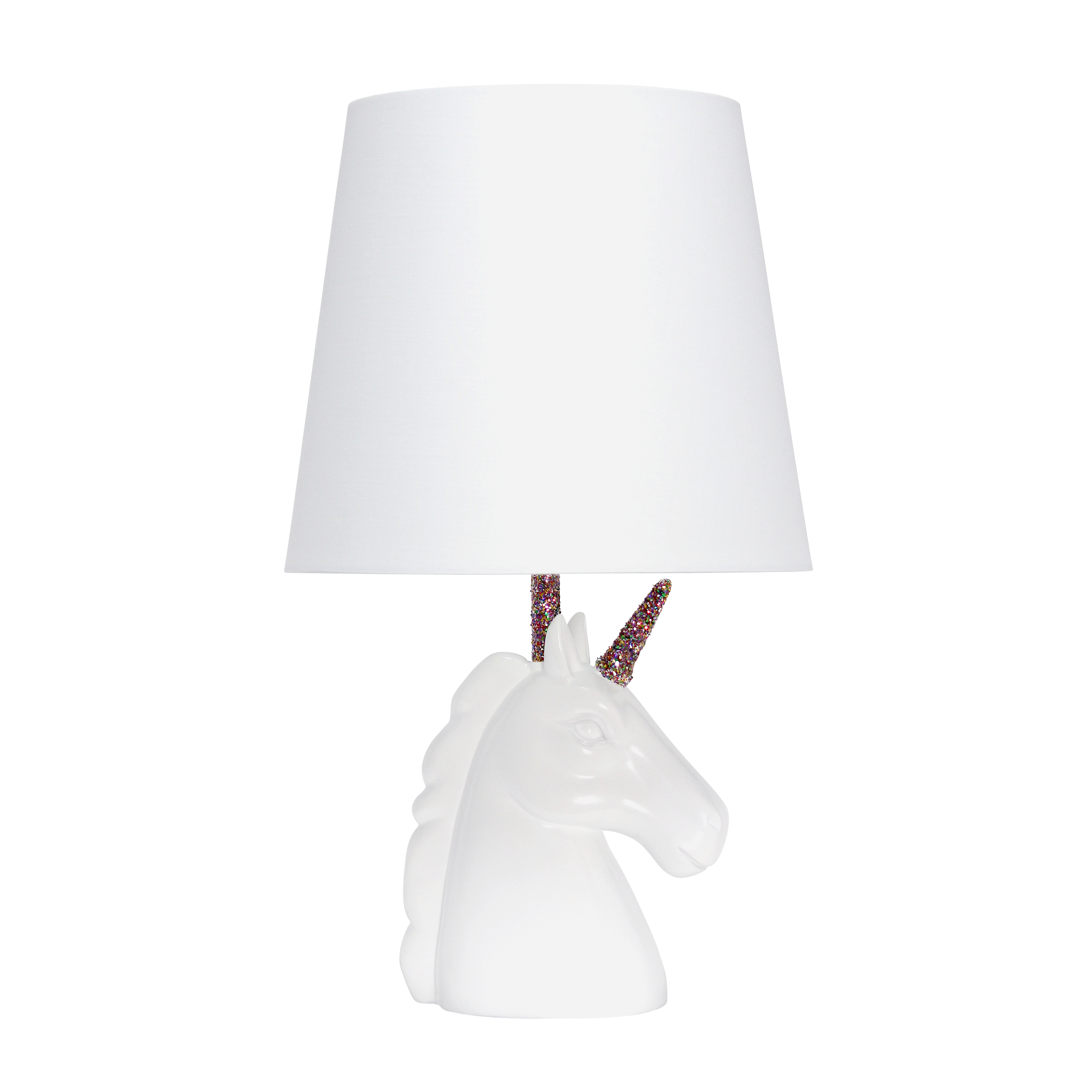Simple Designs Sparkling Rainbow and White Unicorn Table Lamp