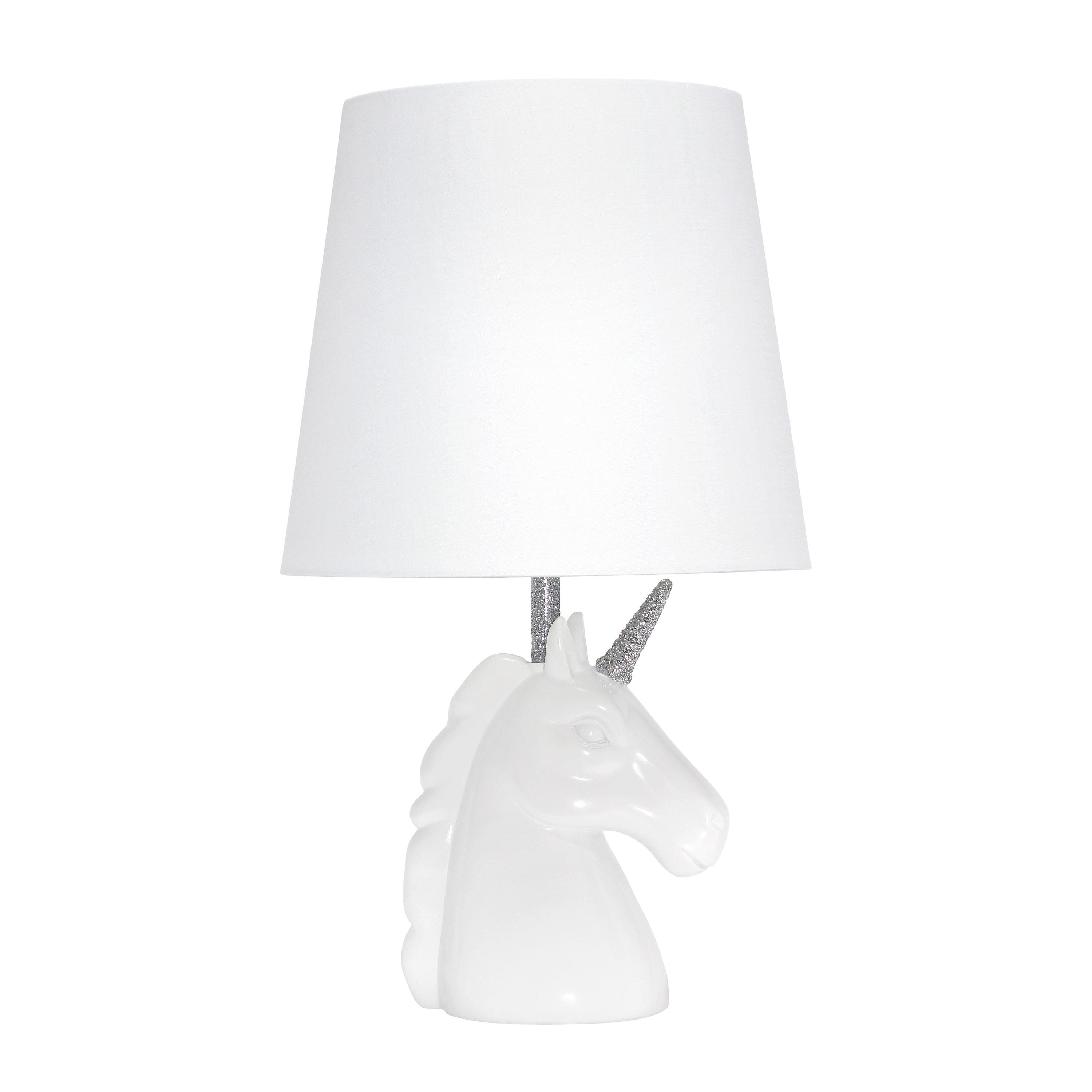 Simple Designs Sparkling Silver and White Unicorn Table Lamp