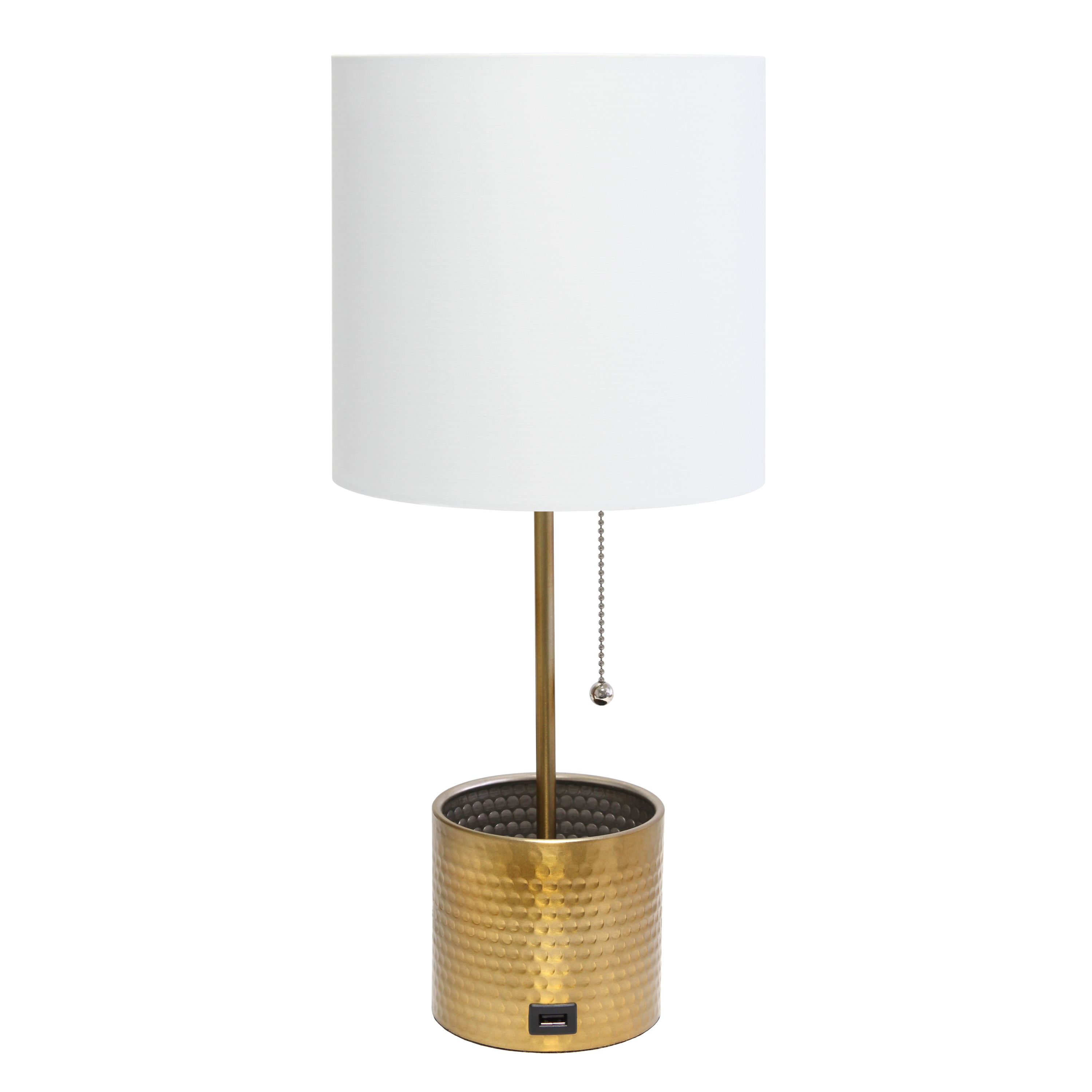 Simple Designs Hammered Metal Organizer Table Lamp with USB charging port and Fabric Shade, Gold