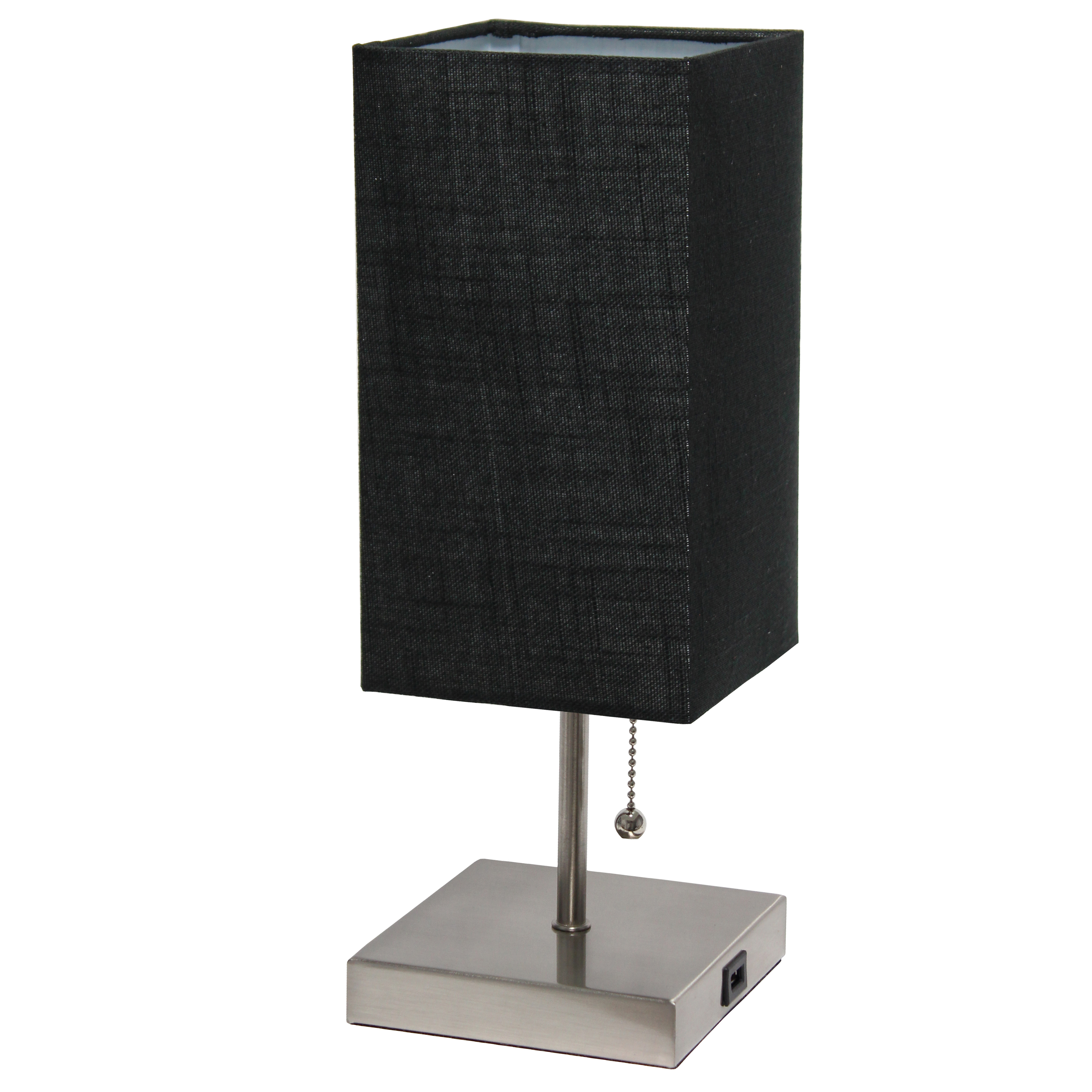 Simple Designs Petite Stick Lamp with USB Charging Port and Fabric Shade, Black