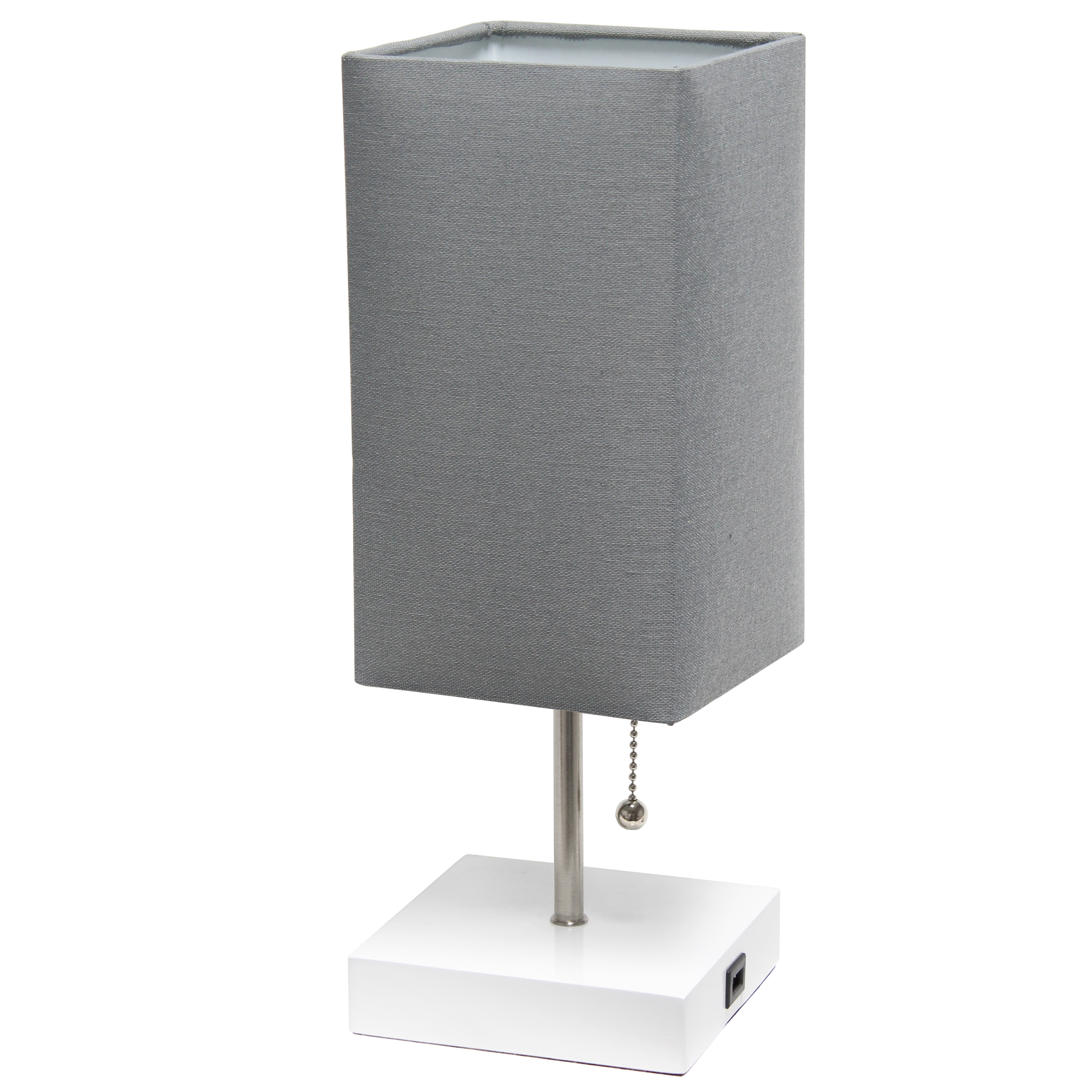 Simple Designs Petite White Stick Lamp with USB Charging Port and Fabric Shade, Gray