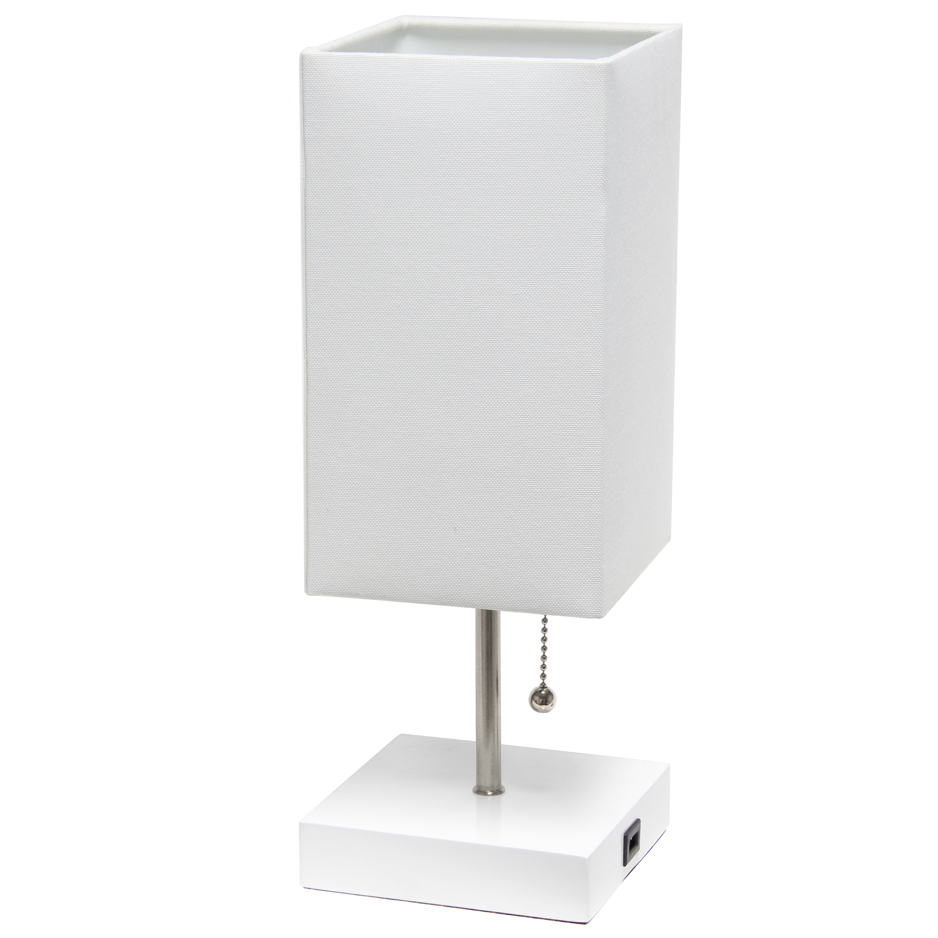 Simple Designs Petite White Stick Lamp with USB Charging Port and Fabric Shade, White