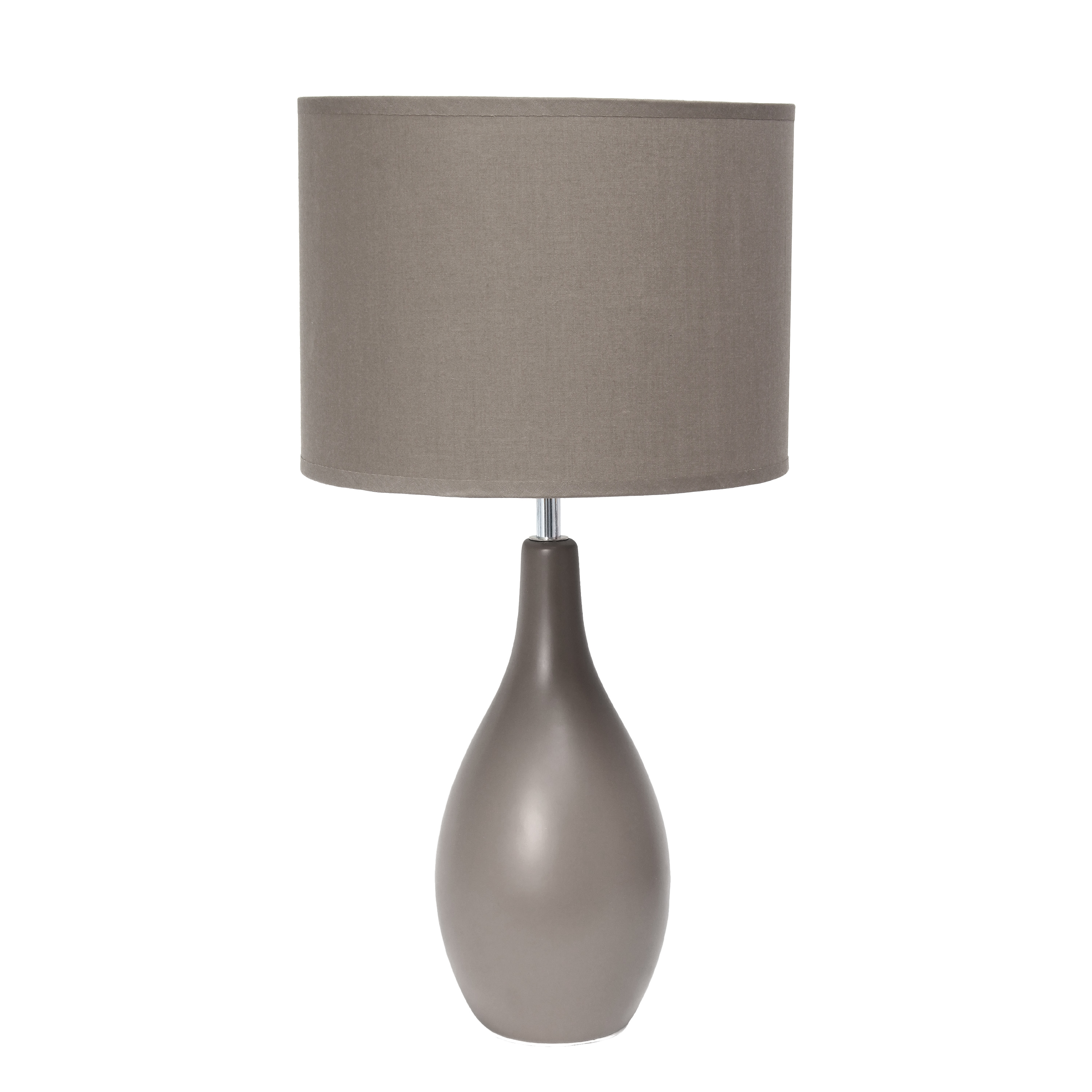 Simple Designs Oval Bowling Pin Base Ceramic Table Lamp, Gray