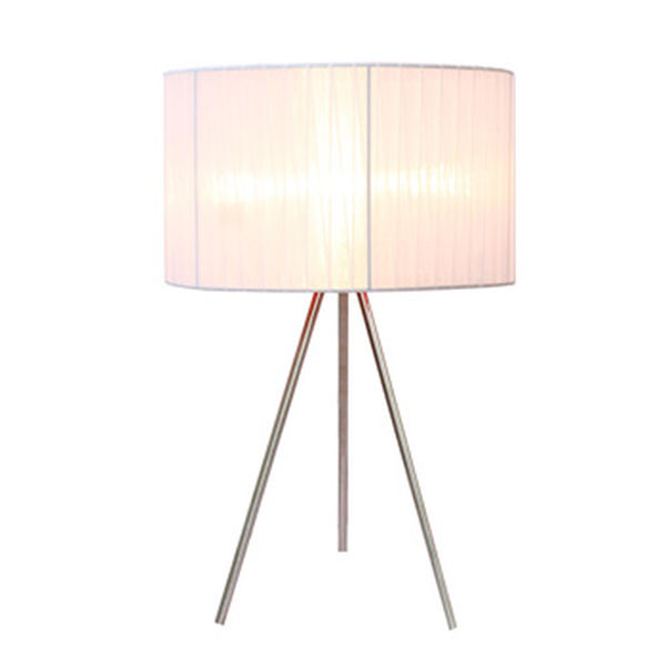 Simple Designs White Sheer Silk Band Tripod Table Lamp
