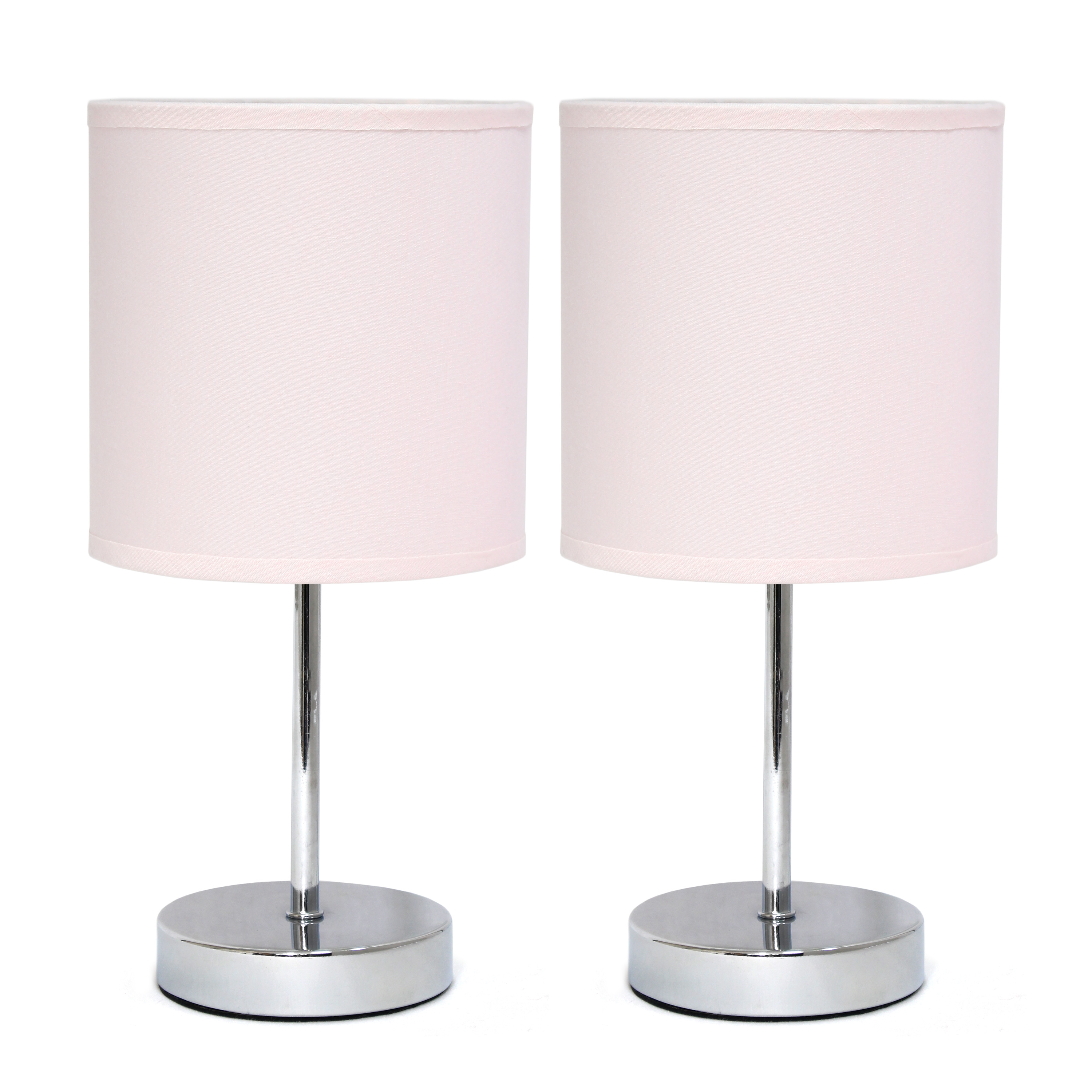 Simple Designs Chrome Mini Basic Table Lamp with Fabric Shade 2 Pack Set, Blush Pink