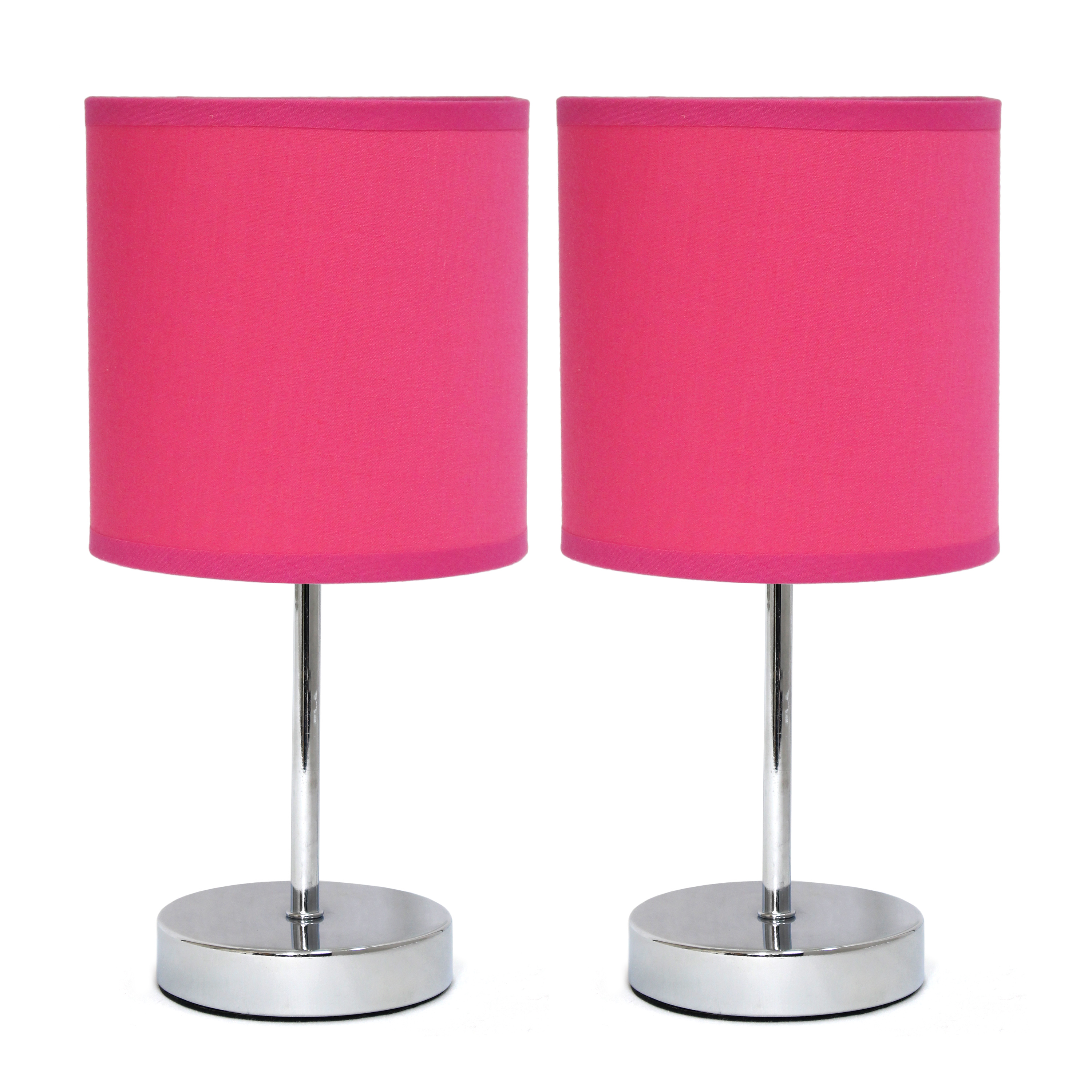 Simple Designs Chrome Mini Basic Table Lamp with Fabric Shade 2 Pack Set, Hot Pink