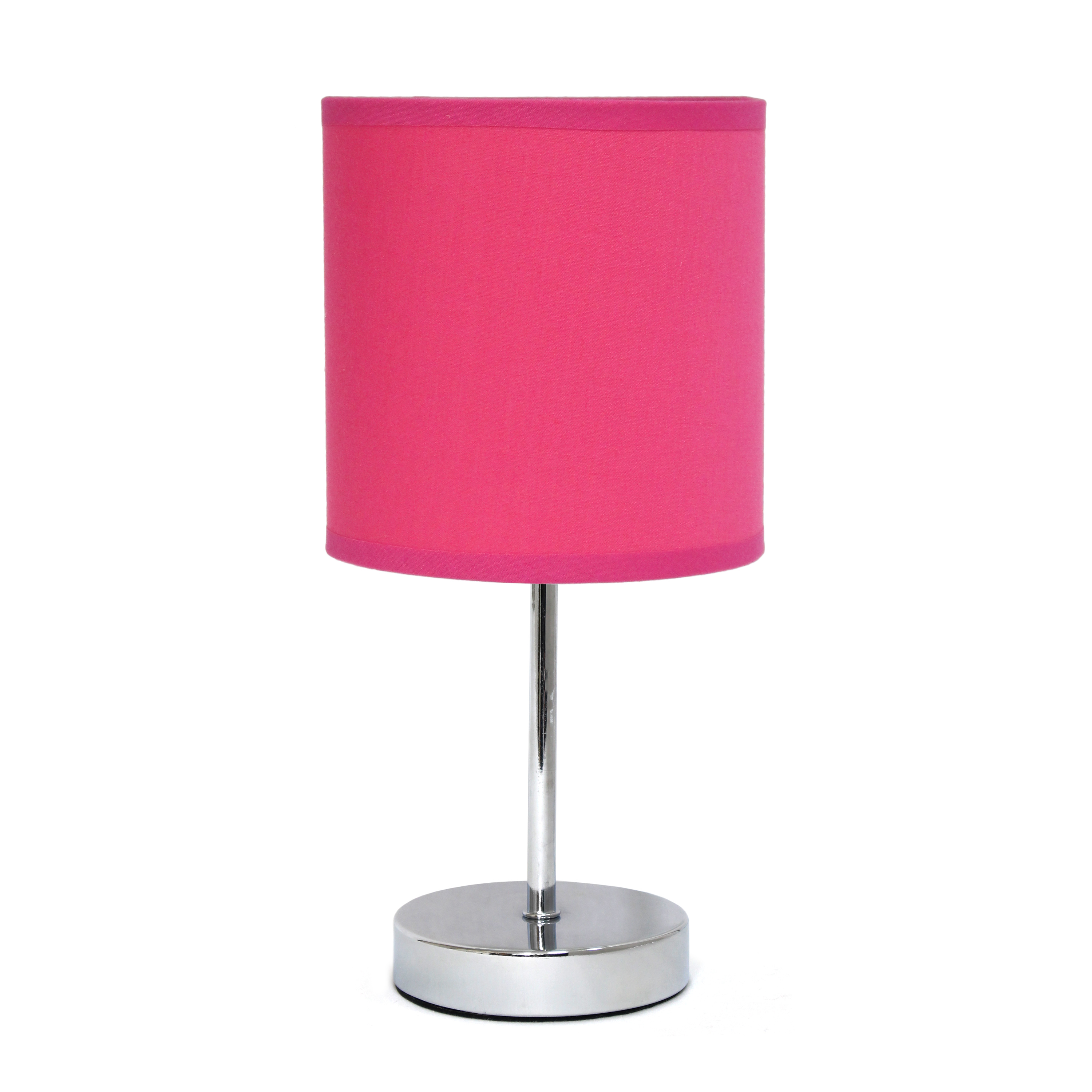 Simple Designs Chrome Mini Basic Table Lamp with Fabric Shade, Hot Pink