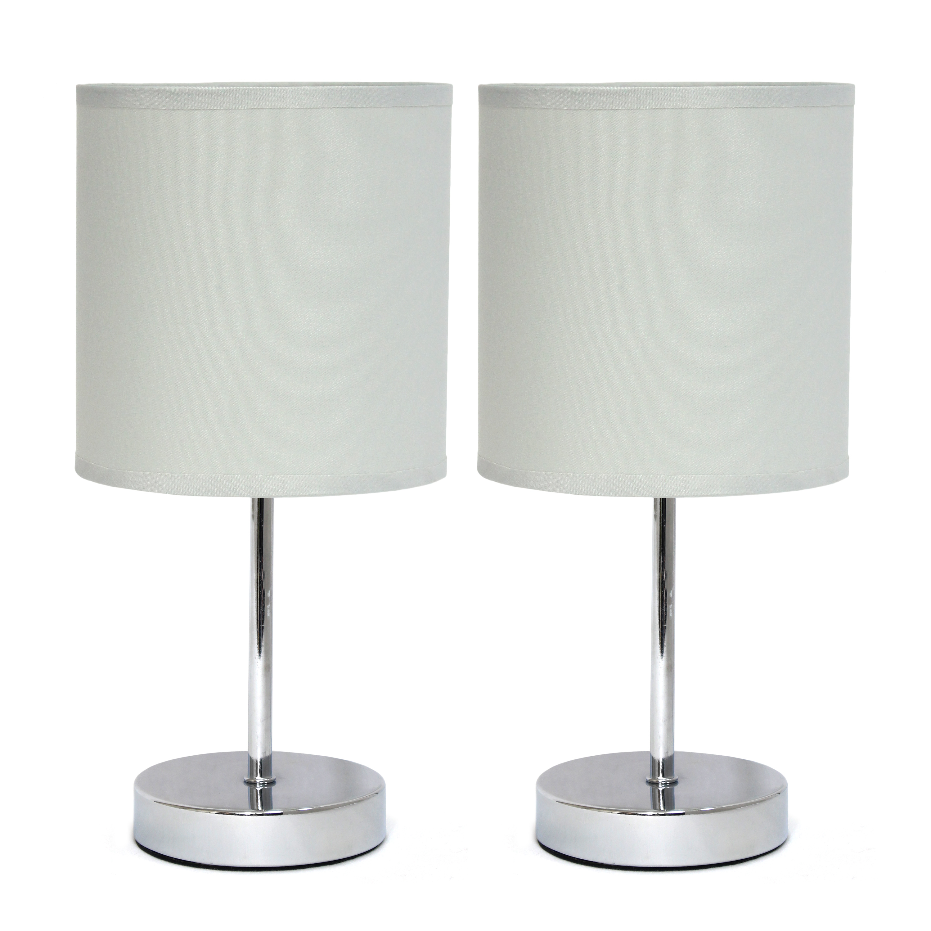 Simple Designs Chrome Mini Basic Table Lamp with Fabric Shade 2 Pack Set, Slate Gray