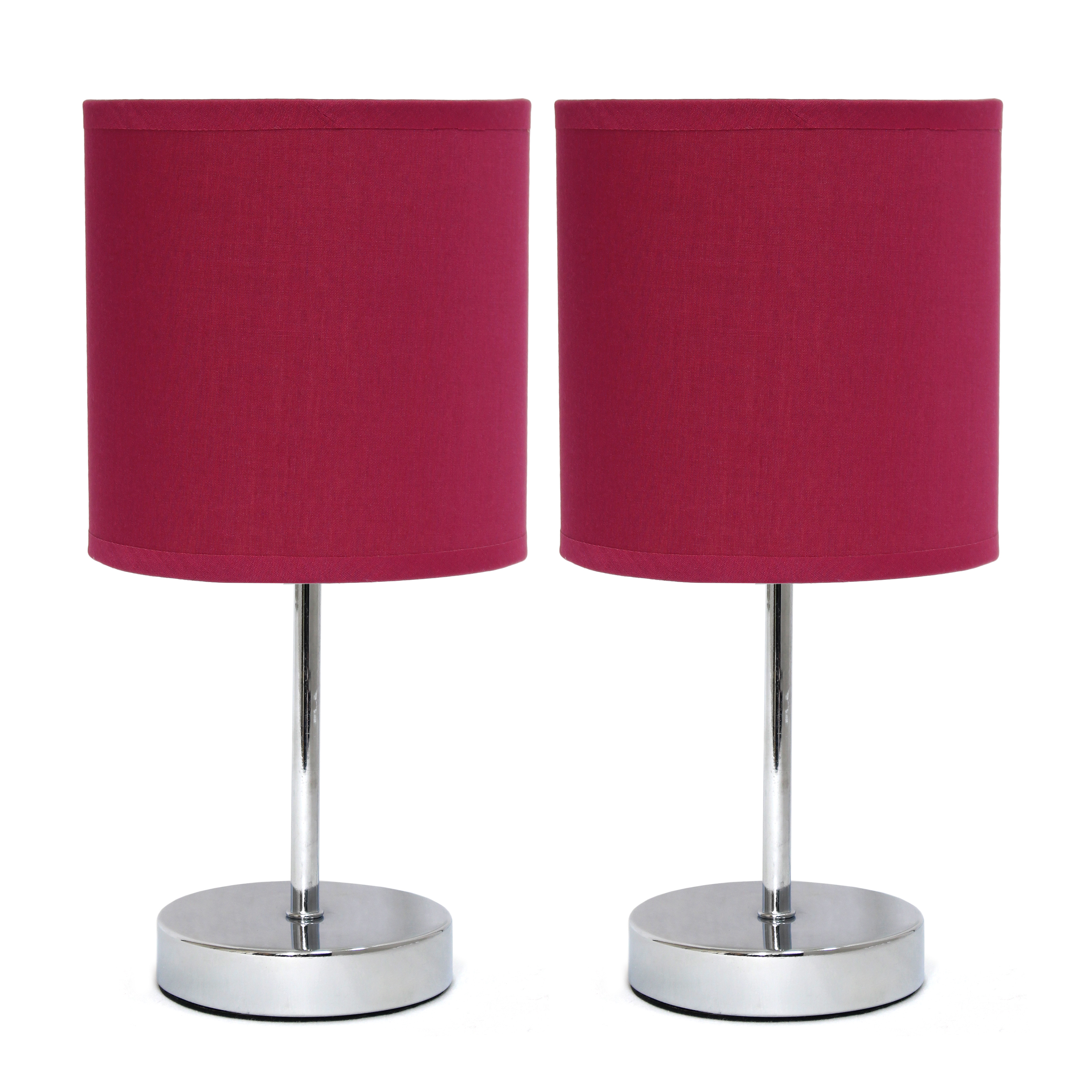 Simple Designs Chrome Mini Basic Table Lamp with Fabric Shade 2 Pack Set, Wine