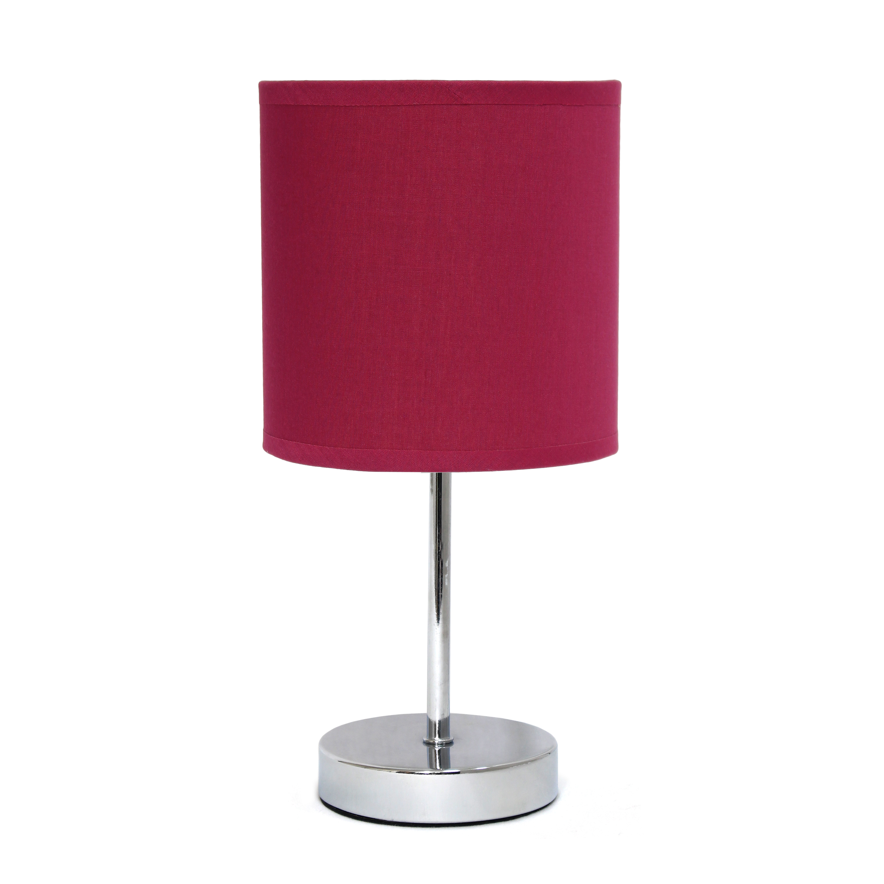 Simple Designs Chrome Mini Basic Table Lamp with Fabric Shade, Wine