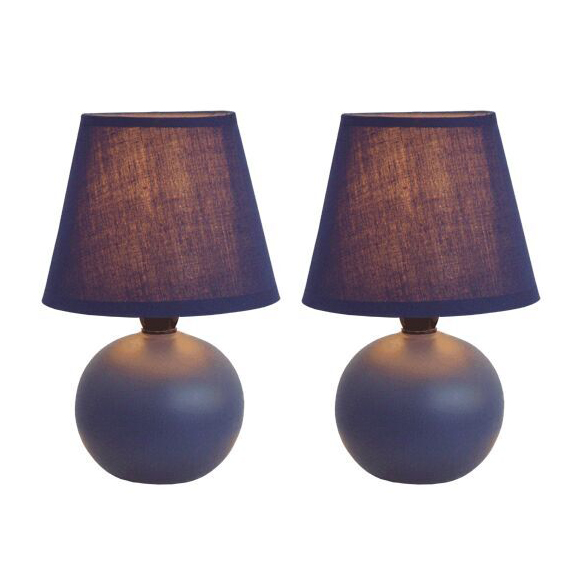 Simple Designs  Mini Ceramic Globe Table Lamp 2 Pack Set, Blue