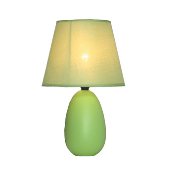 Simple Designs Small Green Oval Ceramic Table Lamp