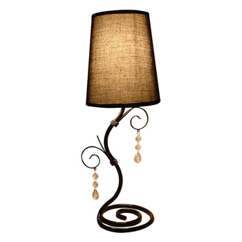 Simple Designs Twisted Vine Table Lamp with Brown Shade and Hanging Beads